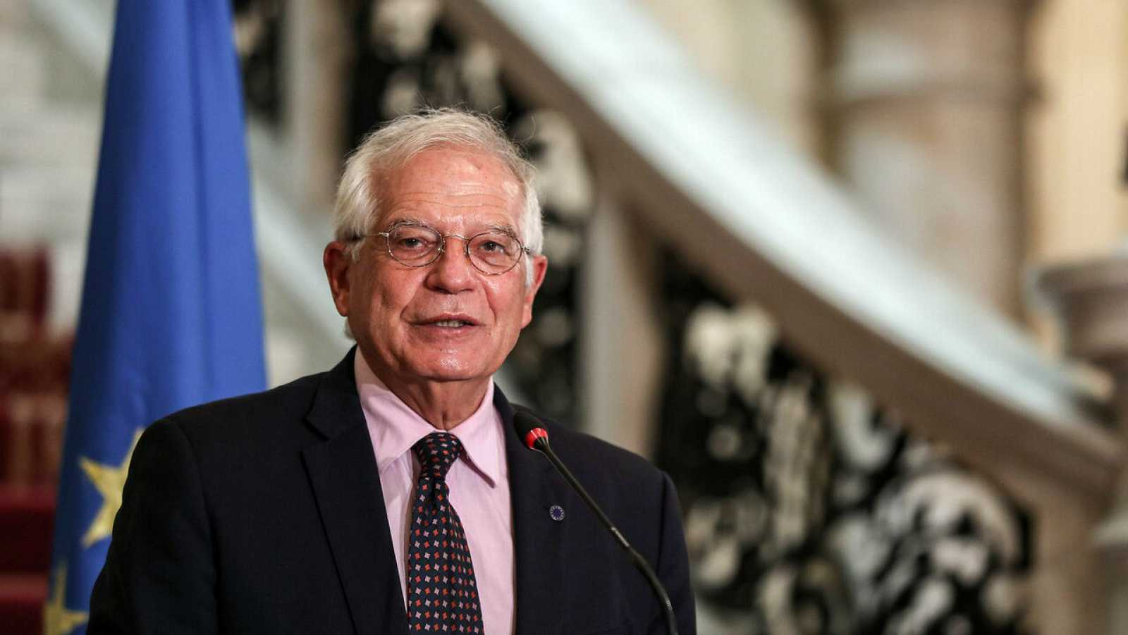 Josep Borrell, Alto Representante de la UE para Asuntos Exteriores y Política de Seguridad, habla durante una conferencia de prensa.