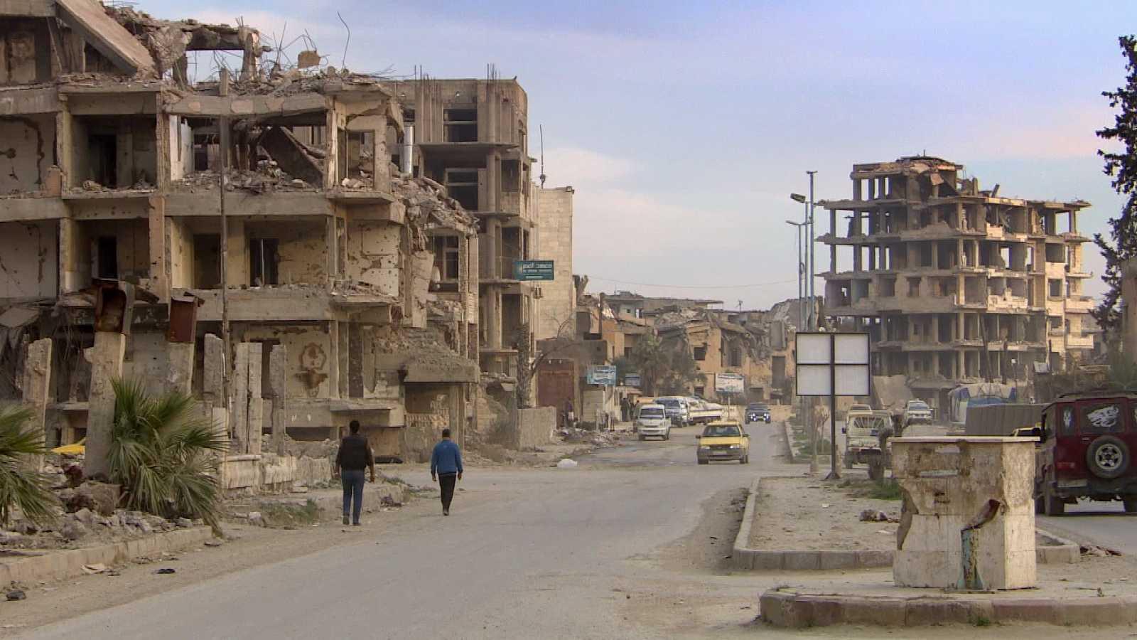 Un edificio en ruinas en la ciudad siria de Raqqa