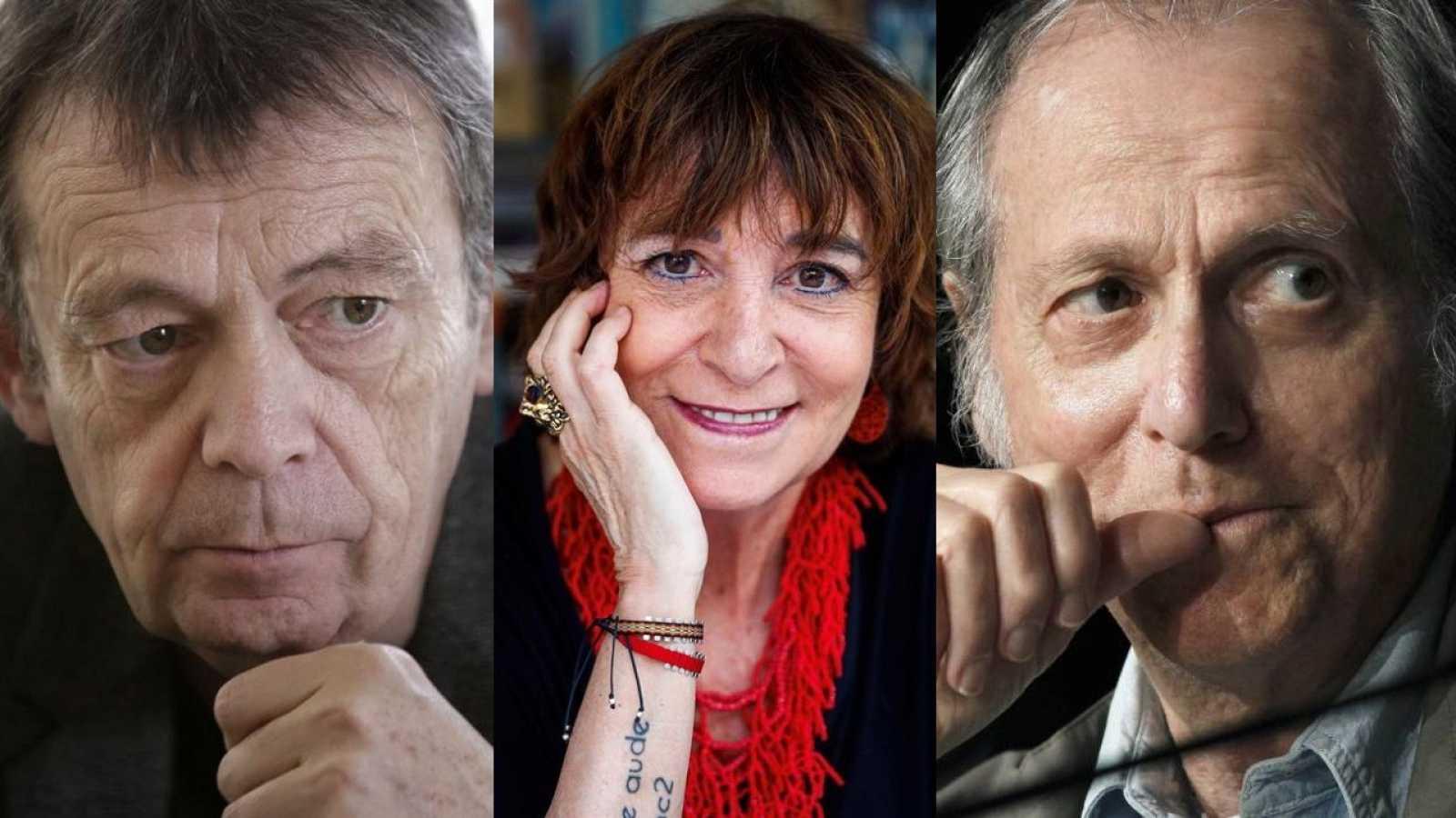 Los escritores Pierre Lemaitre, Rosa Montero y Don DeLillo.
