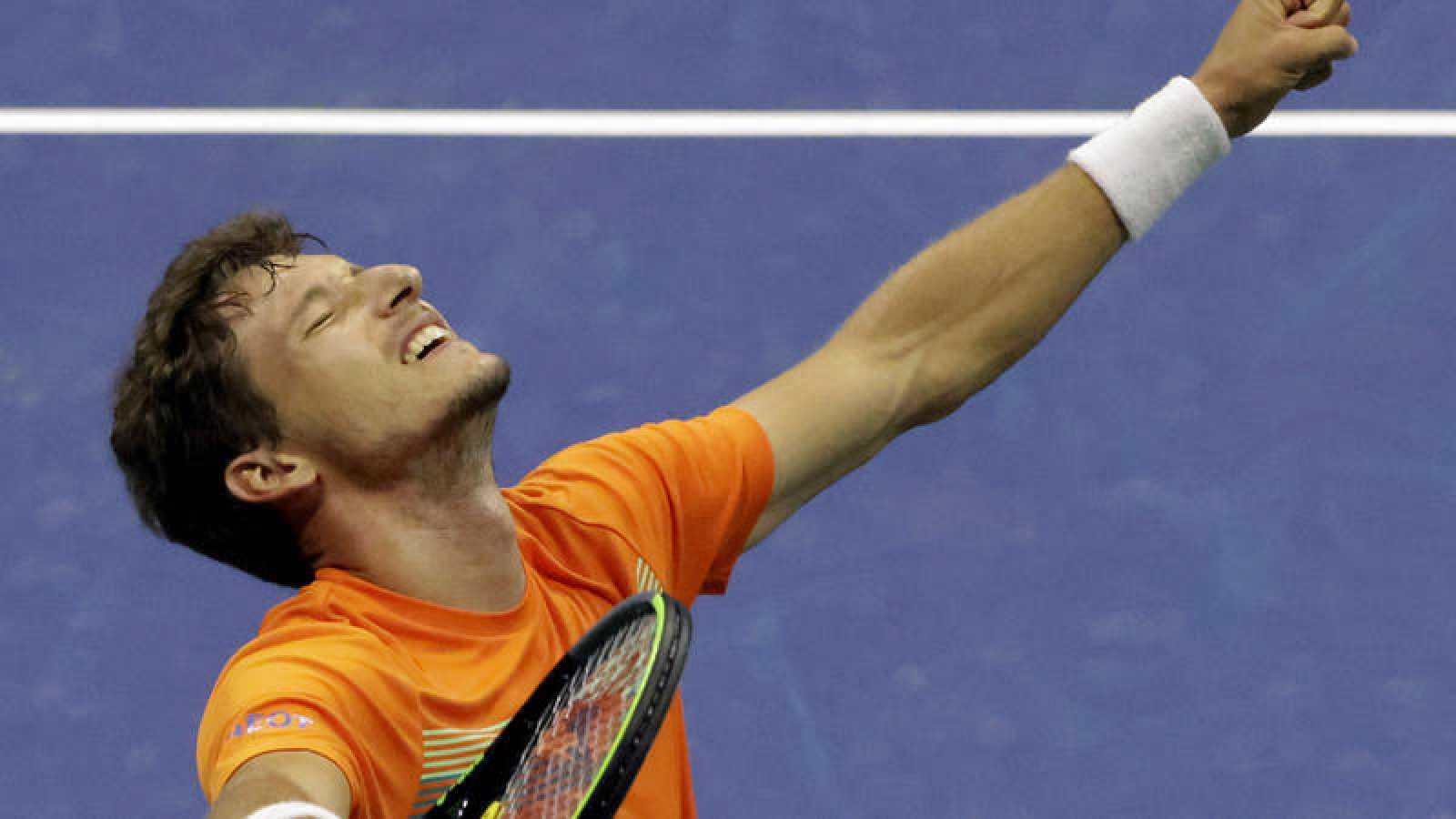 El tenista español Pablo Carreño celebra su pase a semifinales del US Open.