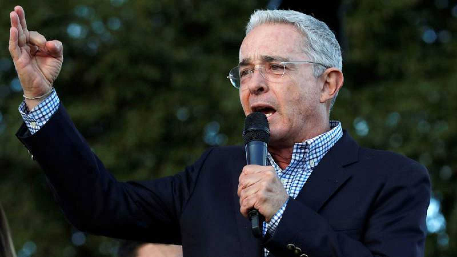 El expresidente de Colombia, Álvaro Uribe, durante un acto en Bogotá, Colombia.