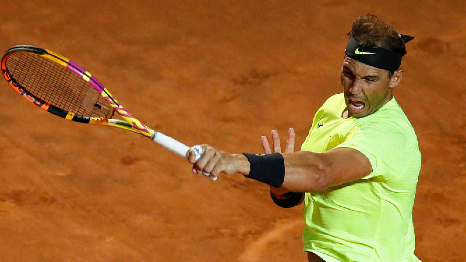 Rafa Nadal, en su partido en Roma contra Carreño.