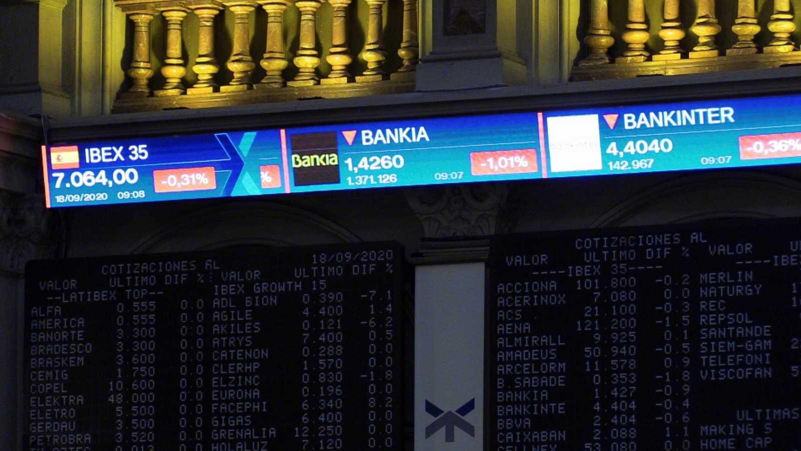 Cotización de algunos bancos en un panel informativo