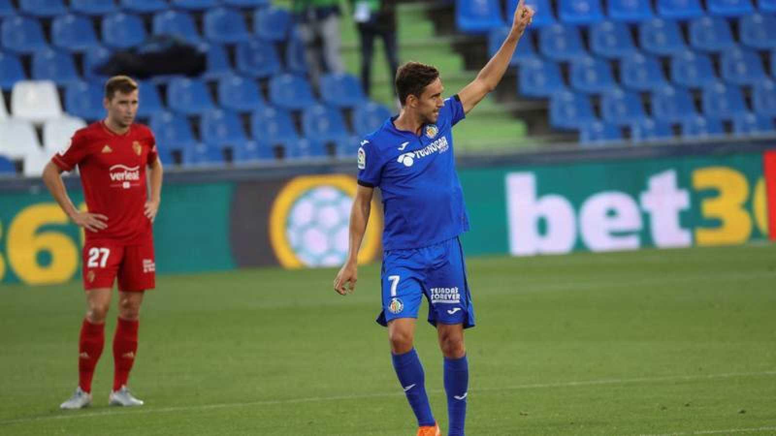 Jaime Mata celebra el gol de la victoria del Getafe.