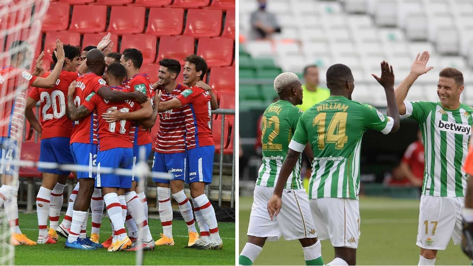 Imagen: Los jugadores del Betis y del Granada celebran un gol