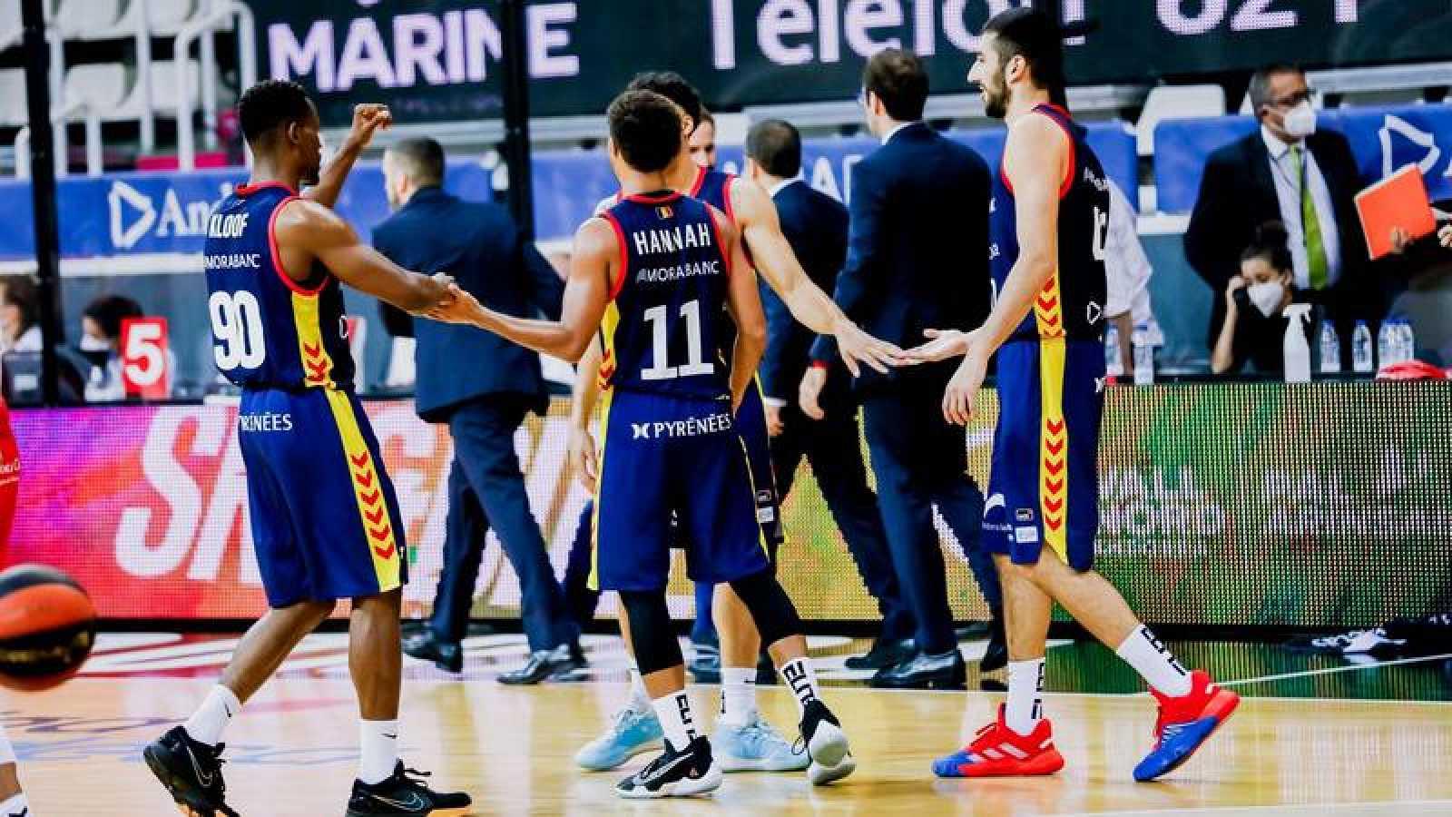 Jugadores del Andorra, en el encuentro de la primera jornada ante el Murcia.