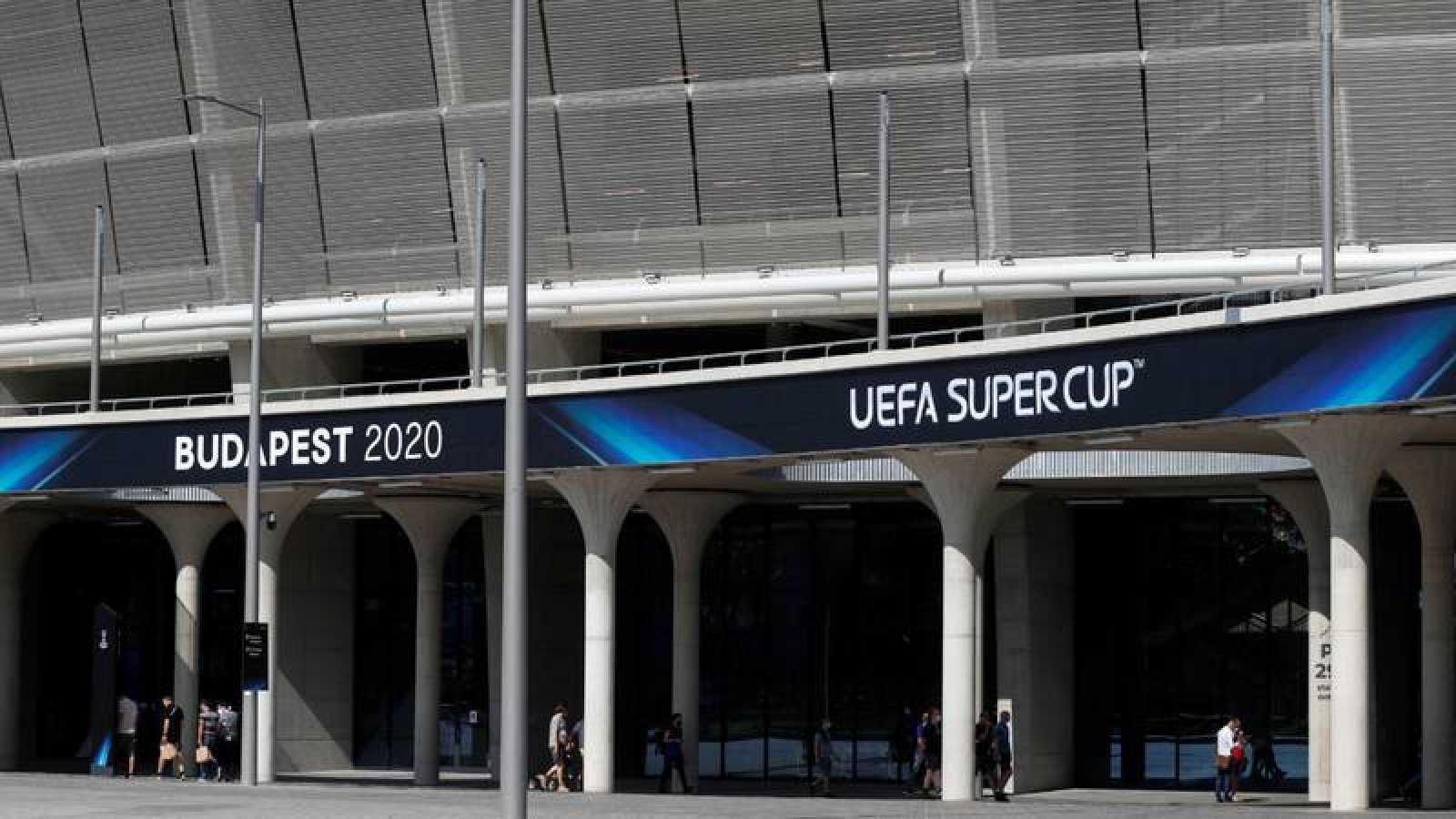 Imagen del Puskas Arenas de Budapest, sede de la Supercopa de Europa entre Bayern y Sevilla.