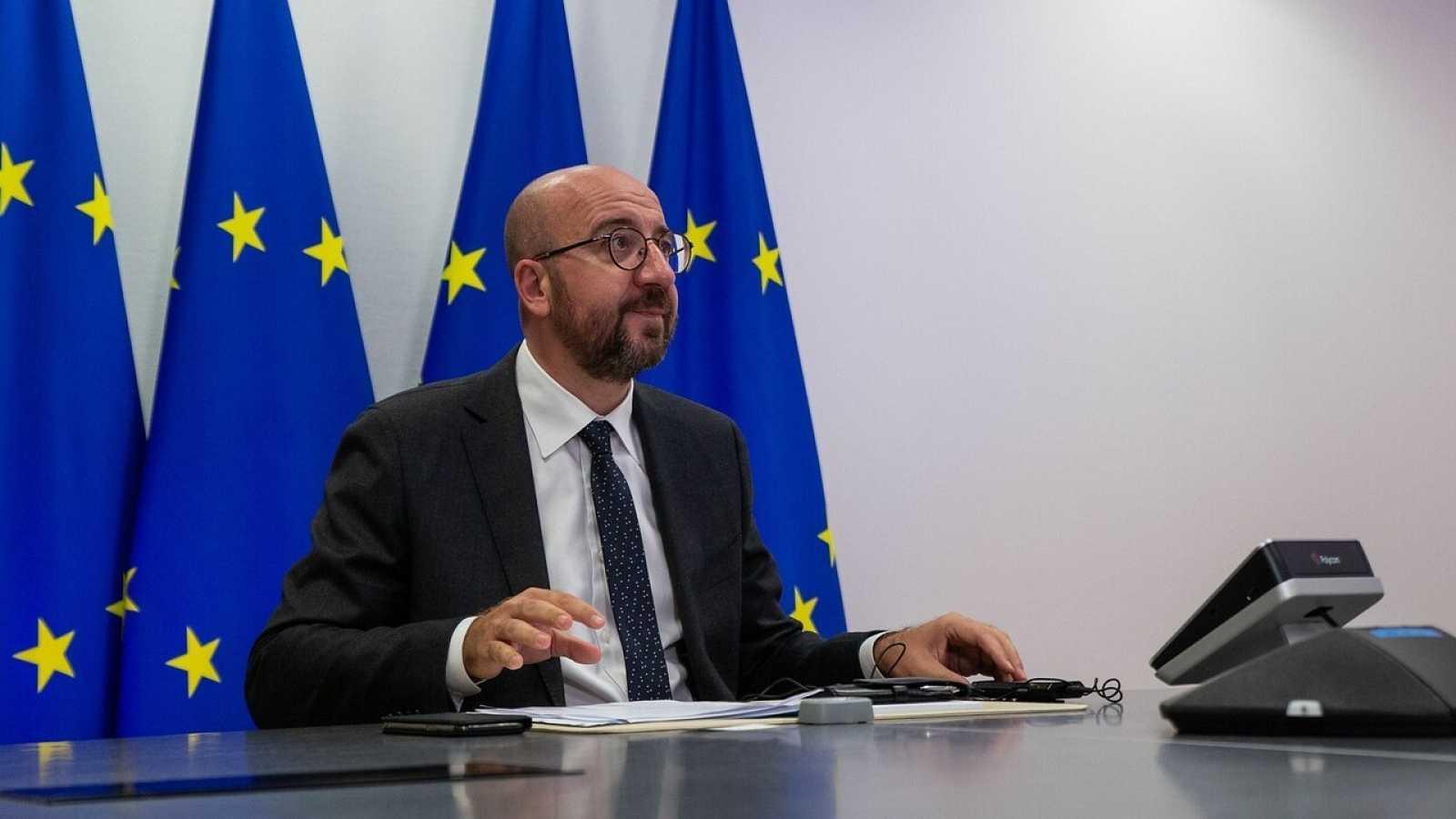 El presidente del Consejo Europeo, Charles Michel, durante una videoconferencia
