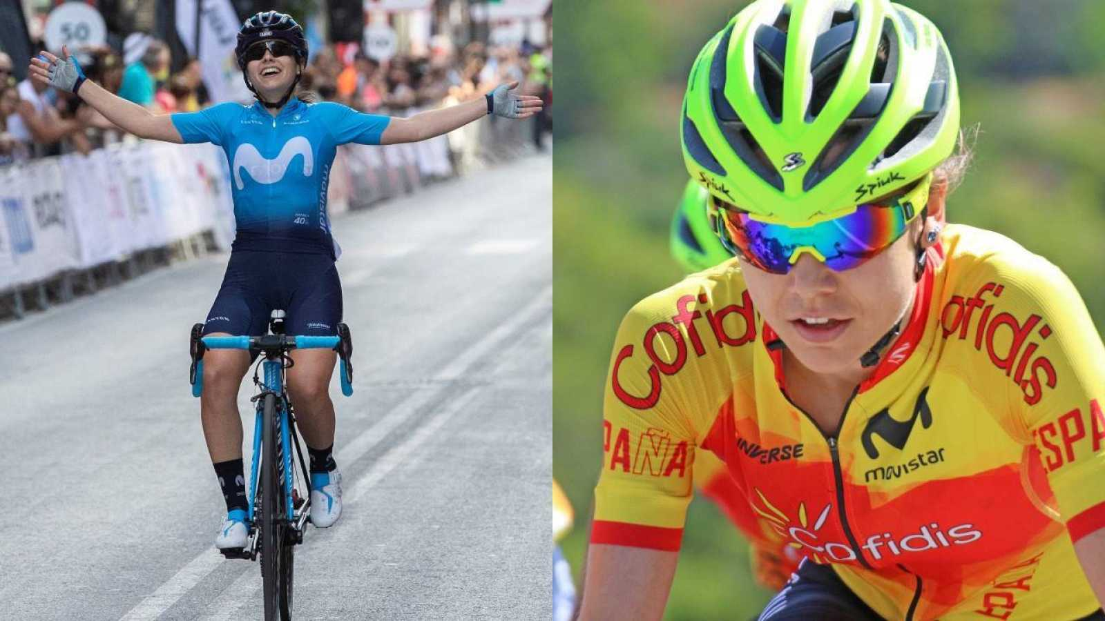 La ciclista del Movistar Team, Lourdes Oyarbide, (i) y la ciclista del Team Sopela, Sara Martín (d)