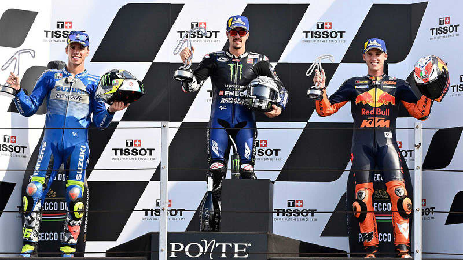 Imagen del podio de Misano tras el triplete español.