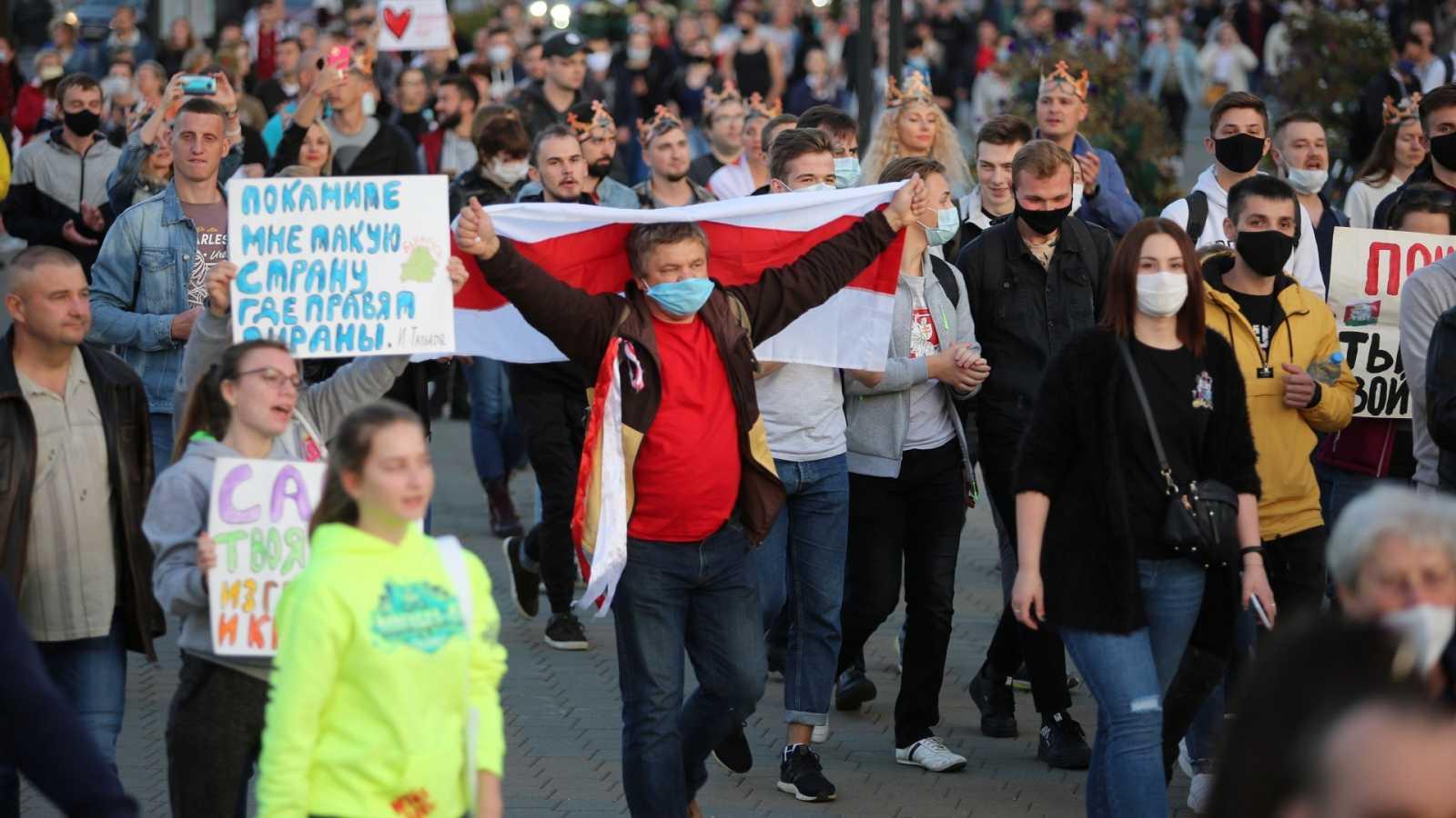 Manifestación contra la investidura de Alexandr Lukashenko en Minsk (Bielorrusia)