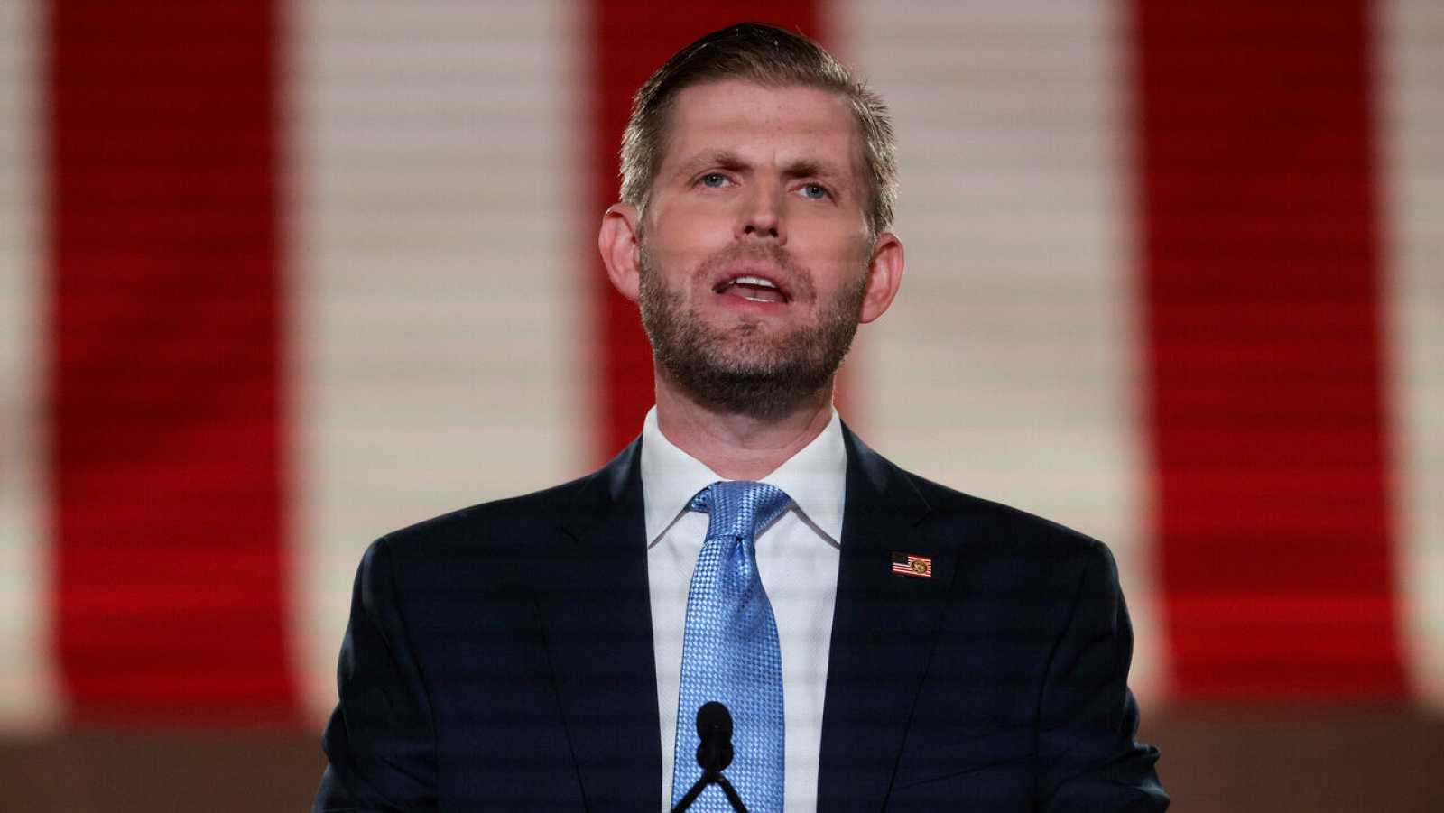 Eric Trump, hijo del presidente de Estados Unidos, Donald Trump, durante su discurso pregrabado en la Convención Nacional Republicana.