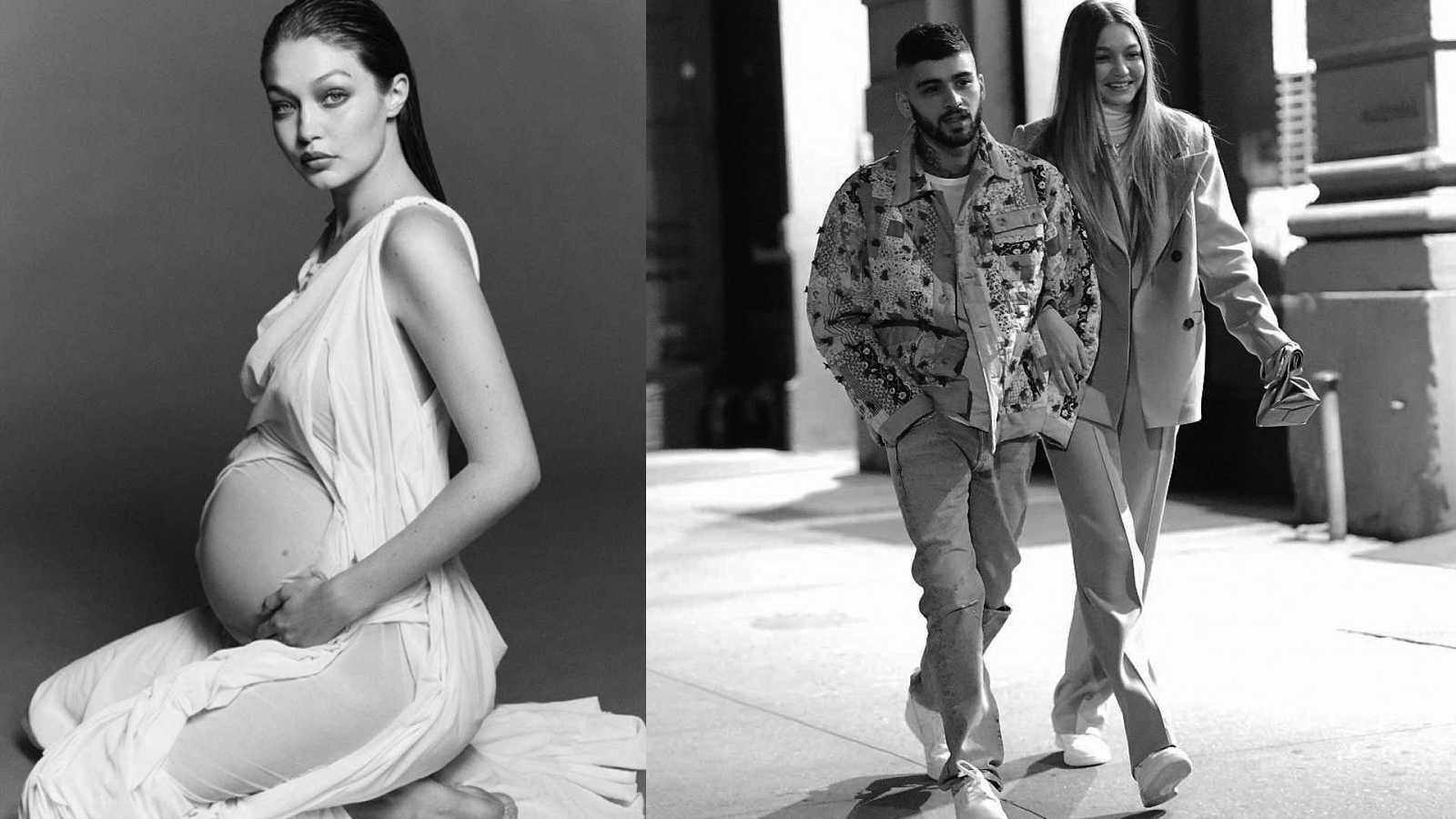 Gigi Hadid y Zayn Malik han sido padres de una niña.  Imagen en la que vemos a la modelo posando embarazada junto a otra fotografía en la que la pareja aparece enamorada y cómplice por las calles de Nueva York