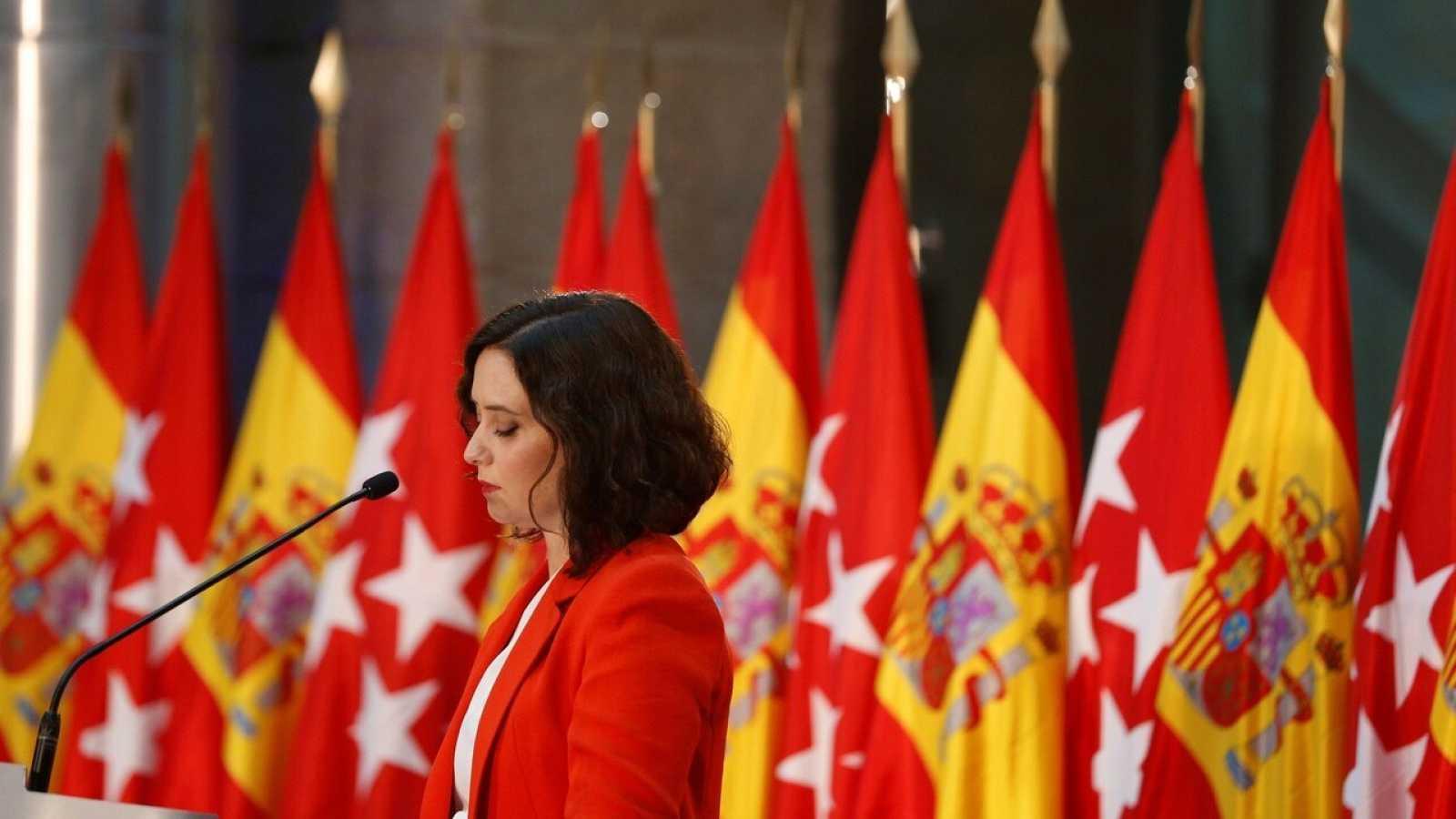 La presidenta de la Comunidad de Madrid, Isabel Díaz Ayuso, en una rueda de prensa