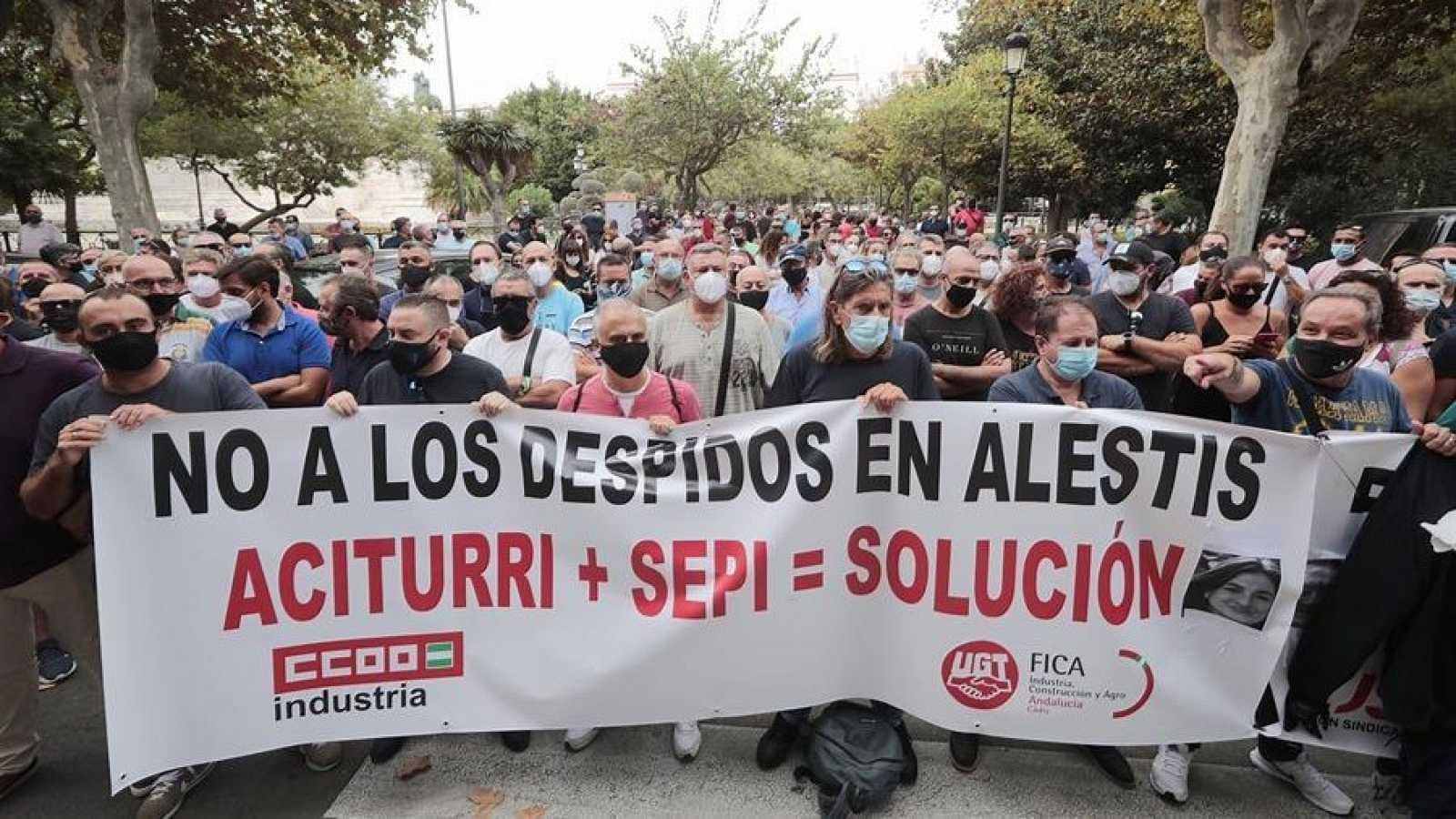 Manifestación de los trabajadores de las plantas de Alestis el pasado 18 de septiembre
