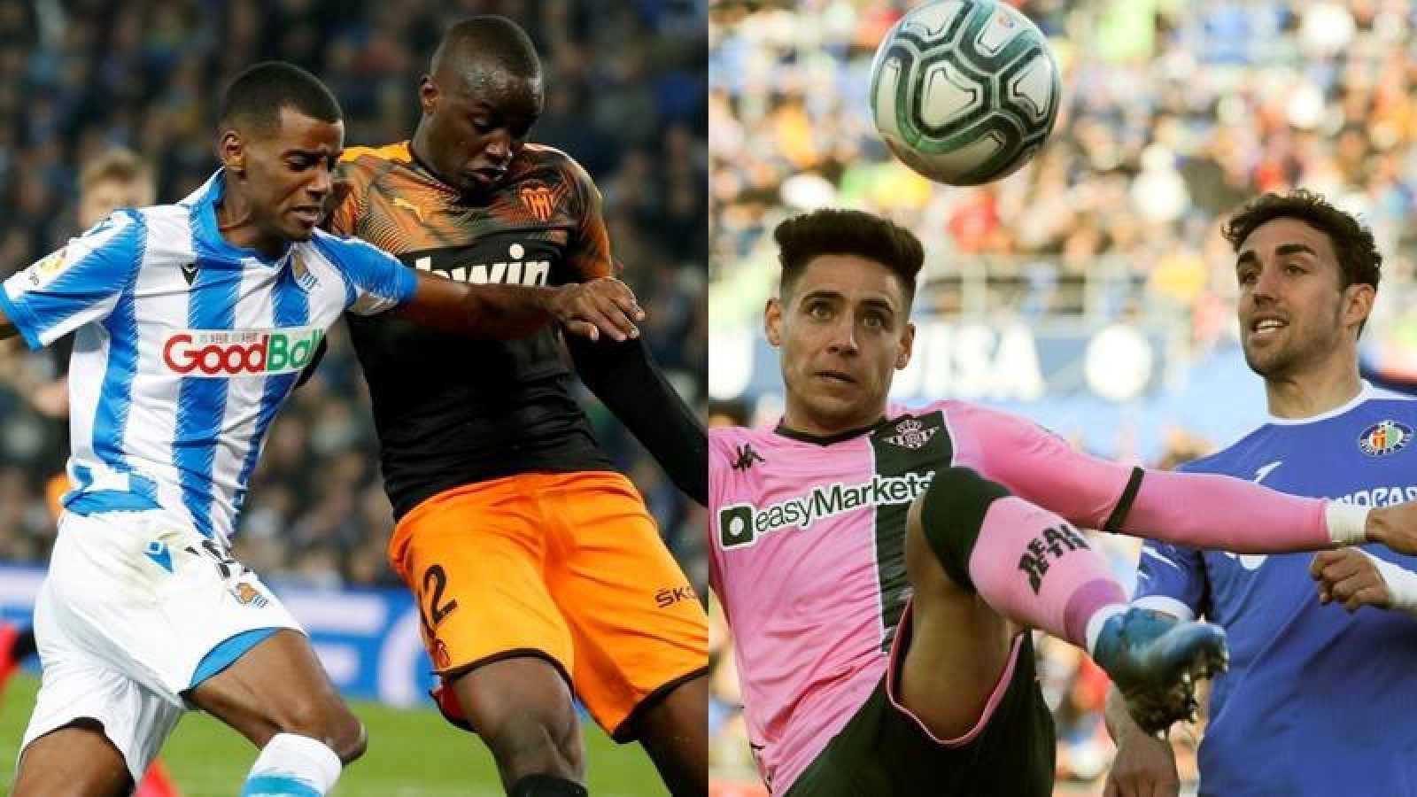 Imagen de los encuentros Real Sociedad-Valencia y Getafe-Betis de la pasada Liga.