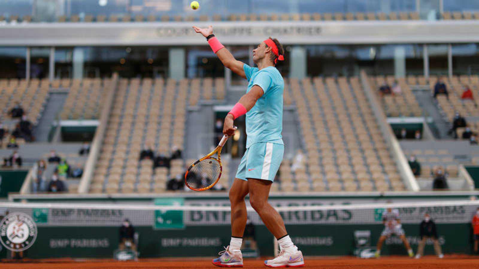 Nadal, en la pista central de Roland Garros