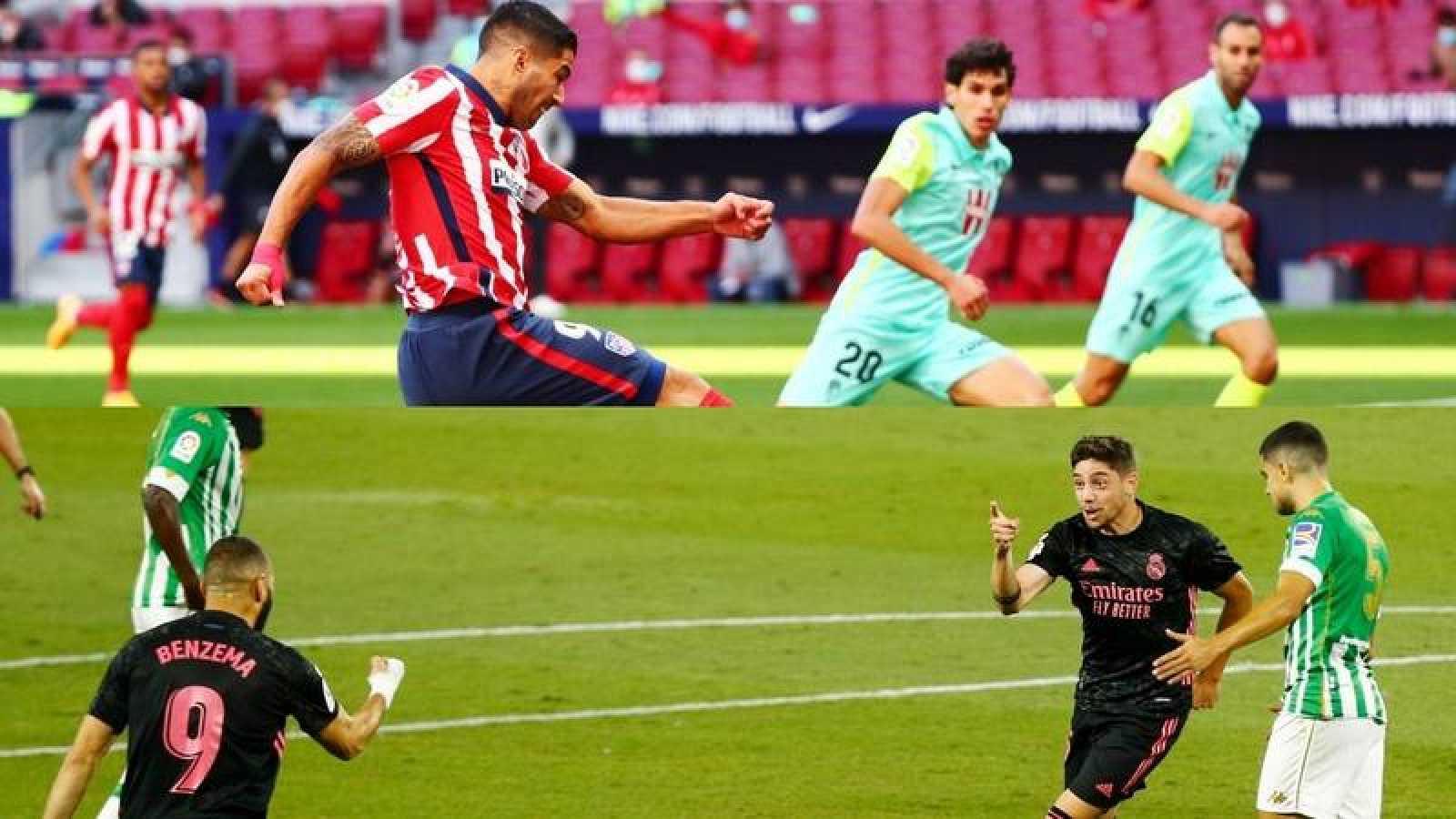 El jugador atlético Luis Suárez y los madridistas Benzema y Valverde durante la jornada 3 de la Liga 2020-2021.
