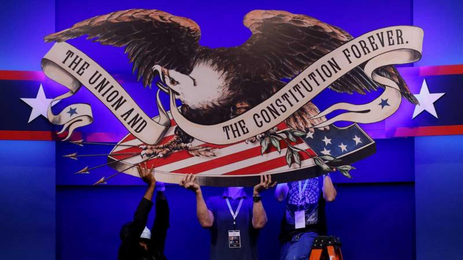 Elecciones EE.UU. 2020: Preparativos del primer debate presidencial entre Donald Trump y Joe Bide, en Cleveland, Ohio