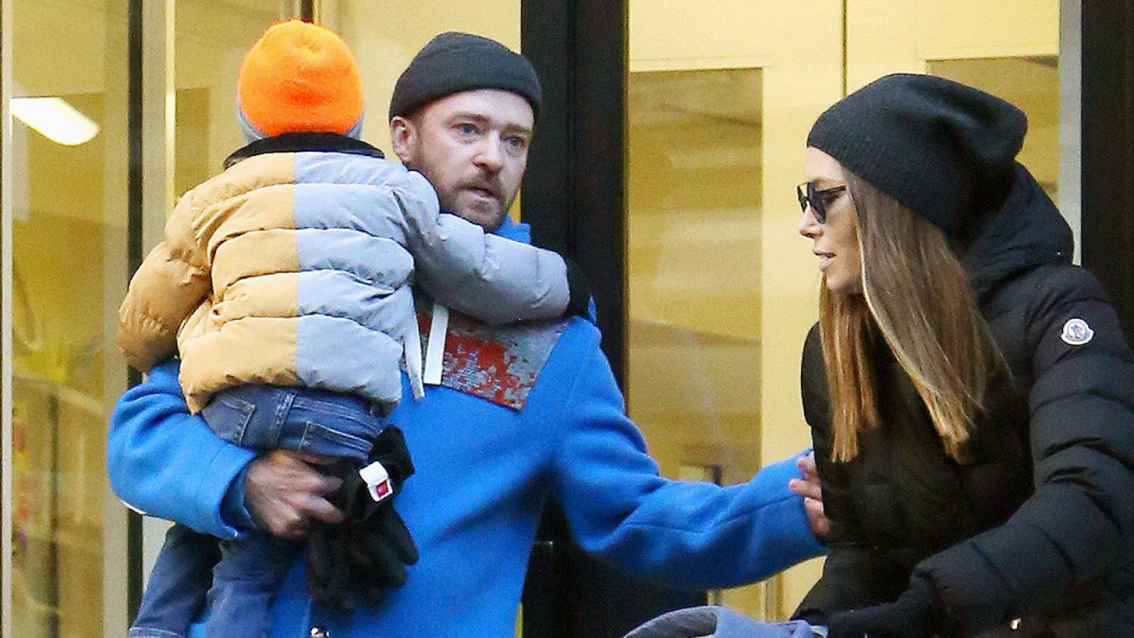 Justin Timberlake y Jessica Biel con su hijo mayor