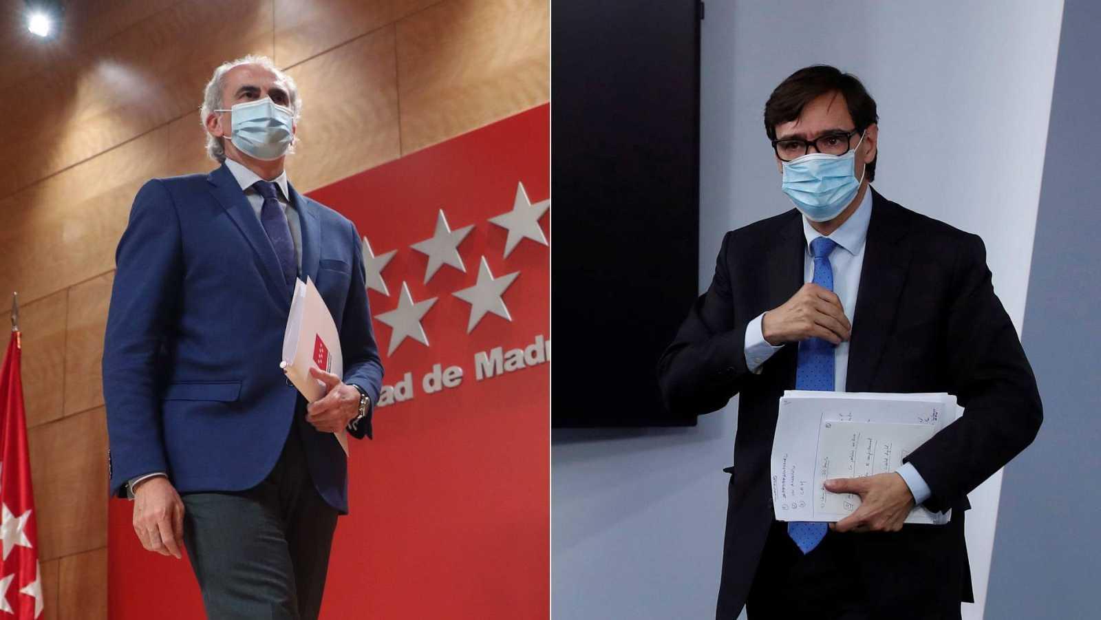 El consejero de Sanidad de la Comunidad de Madrid, Enrique Ruiz Escudero, frente al ministro de Sanidad, Salvador Illa
