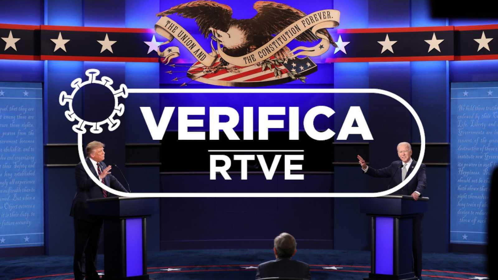 Los candidatos Trump y Biden durante el último debate televisado.