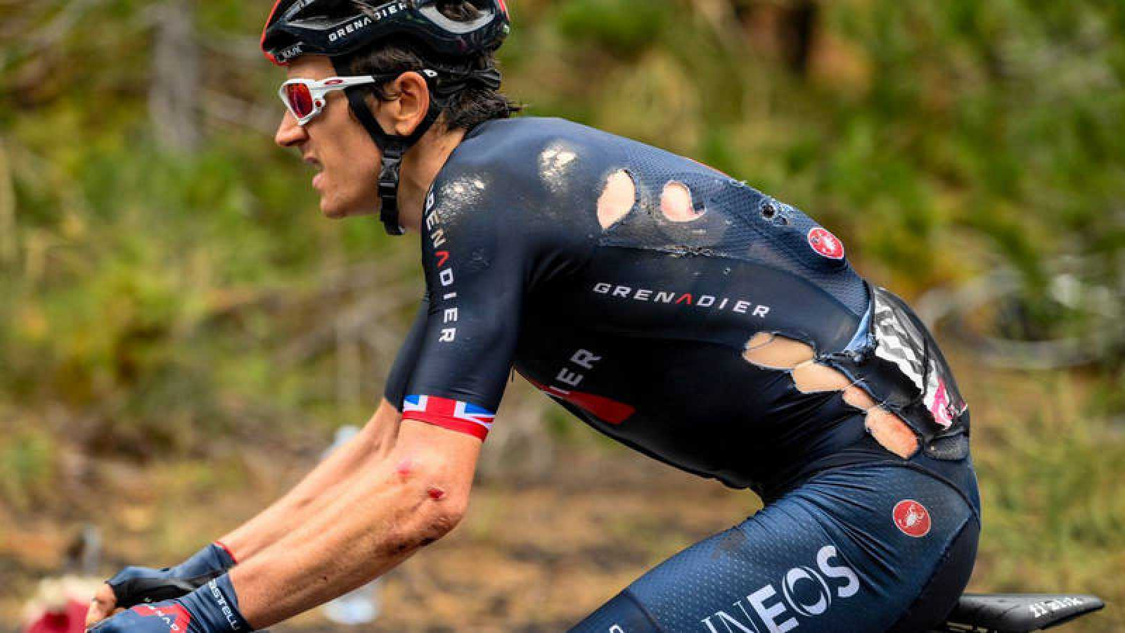 Imagen del galés Geraint Thomas (Ineos) durante la tercera etapa del Giro de Italia 2020.