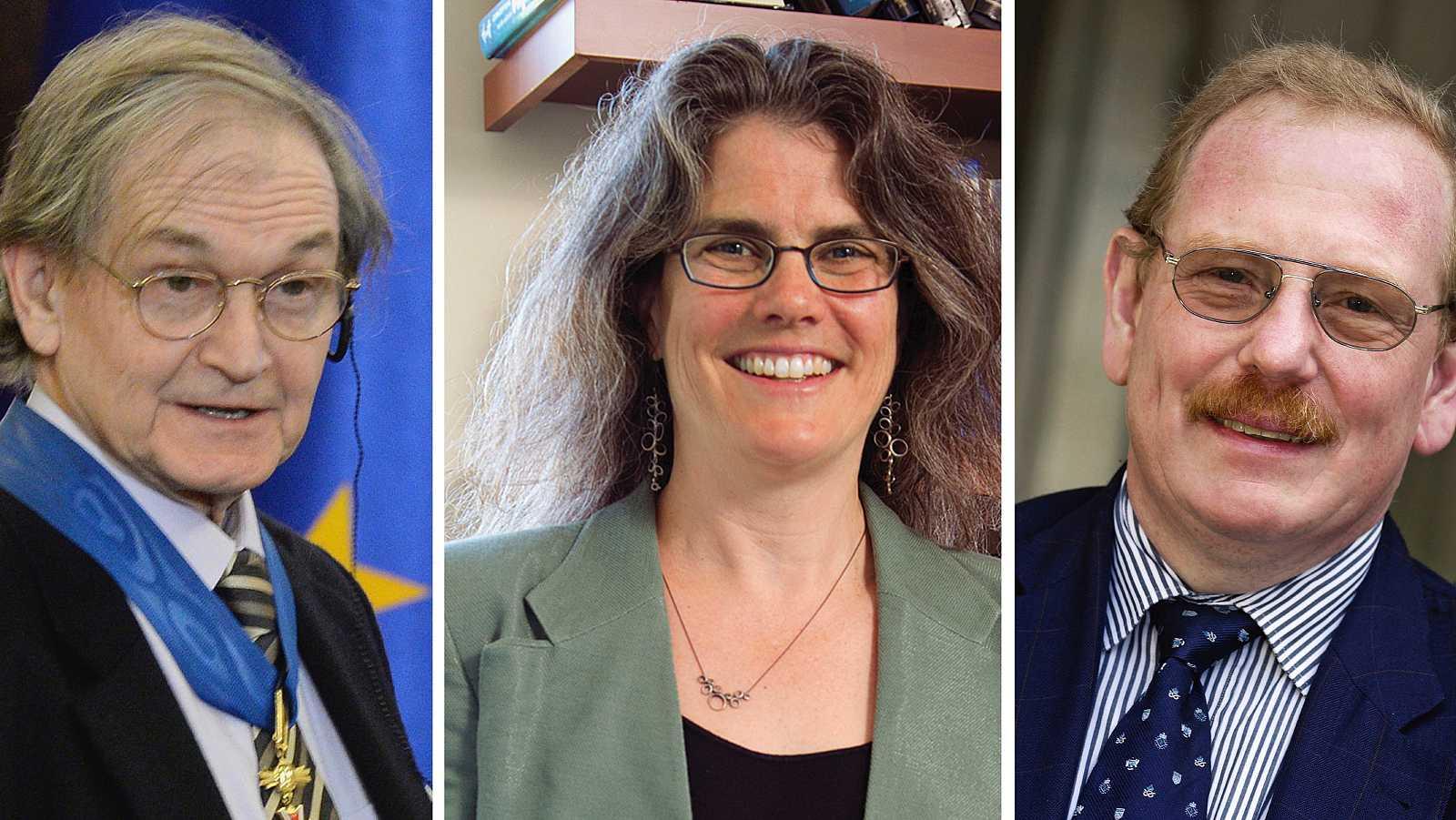 De izquierda a derecha: Roger Penrose, Andrea Ghez y Reinhard Genzel.