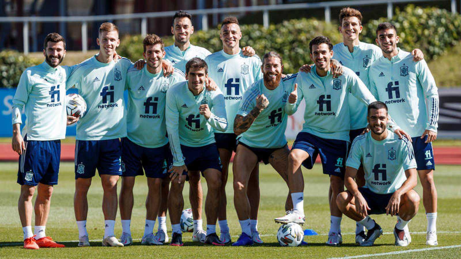 Entrenamiento de la selección española de fútbol en Las Rozas