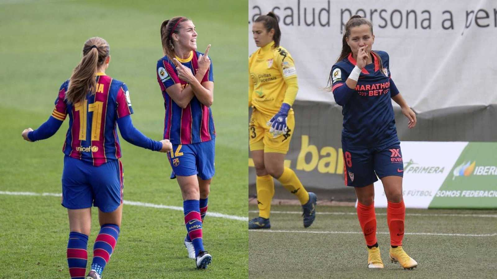 Patri Guijarro y Alexia Putellas celebran un gol ante el Real Madrid (i), a la derecha, Claudia Pina festeja su tanto ante el Santa Teresa de Badajoz