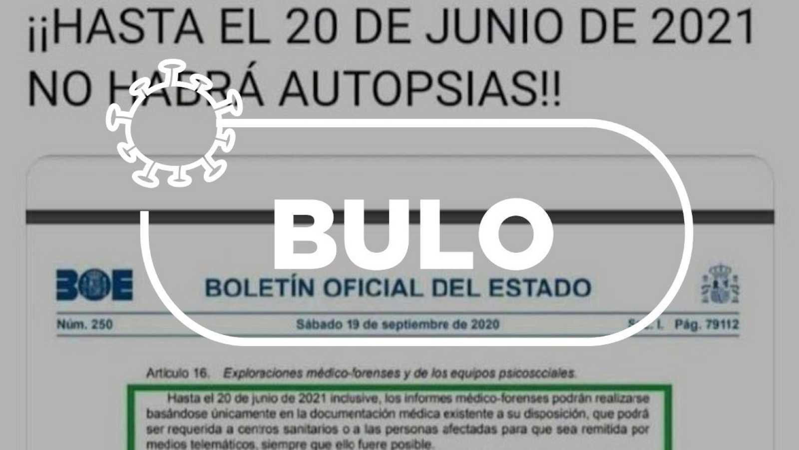 El bulo sobre la suspensión de autopsias en España.