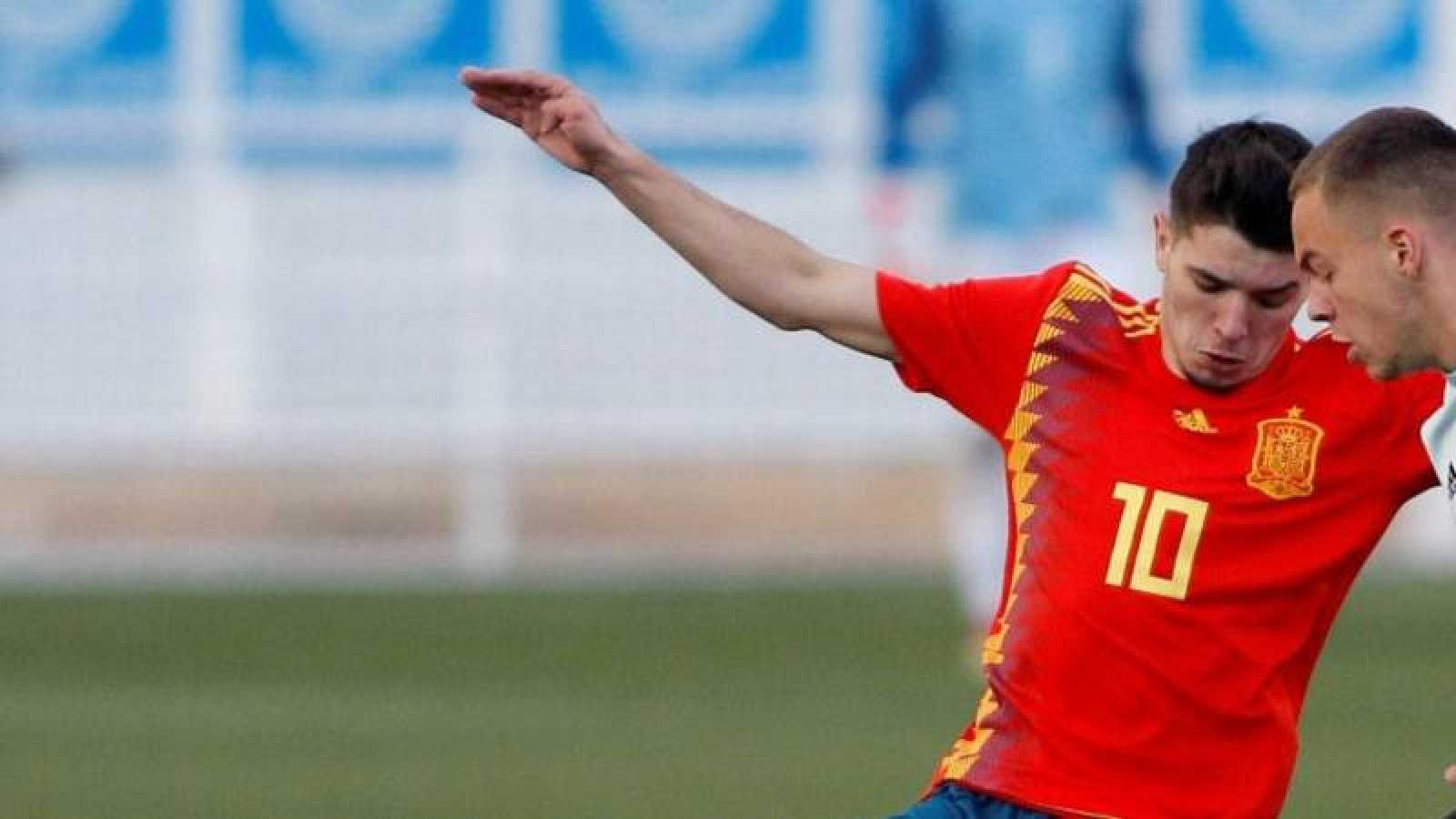 Imagen del jugador Brahim Díaz con la camiseta de la selección española Sub-21.