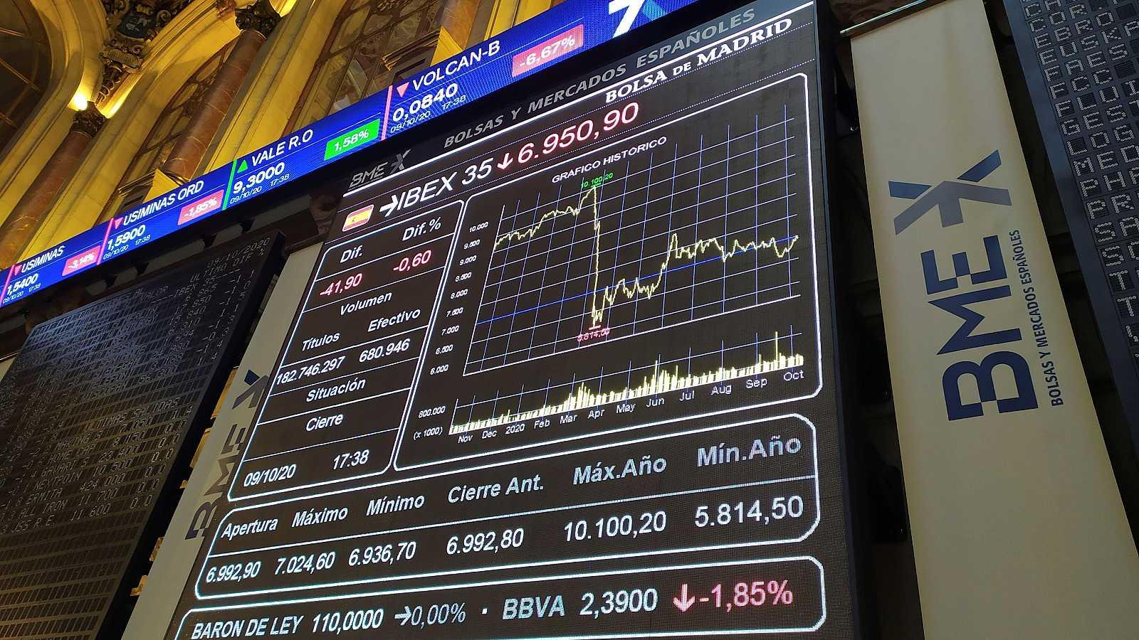 Pantalla electrónica de la Bolsa de Madrid con los resultados de la semana.