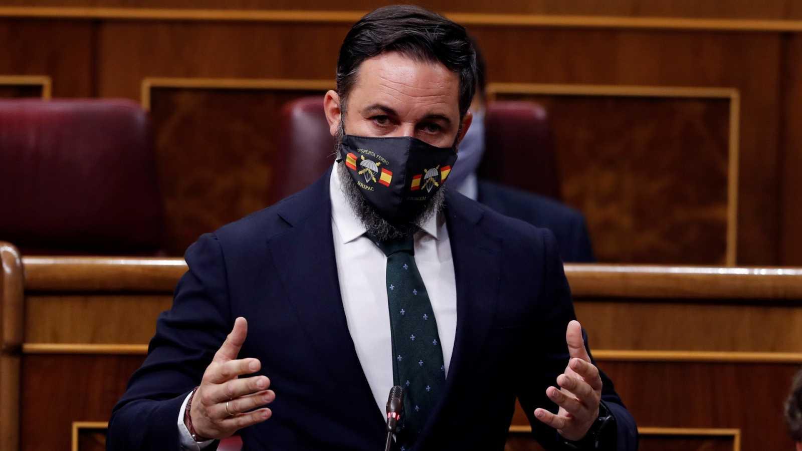 El líder de Vox, Santiago Abascal, durante una intervención en el Congreso.
