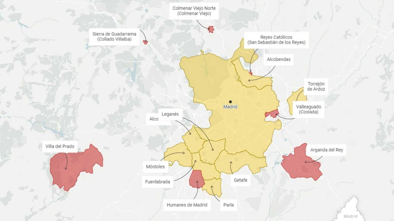 Localidades afectadas por el estado de alarma y las restricciones de la Comunidad de Madrid