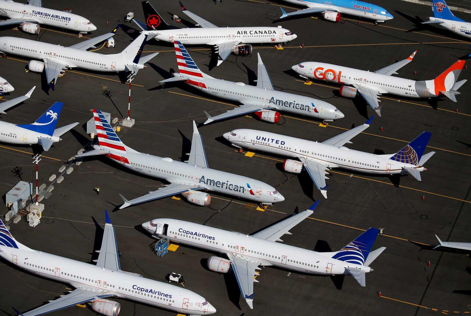 Aviones Boeing 737 MAX en un estacionamiento de la compañía en Seattle, Washington, Estados Unidos.