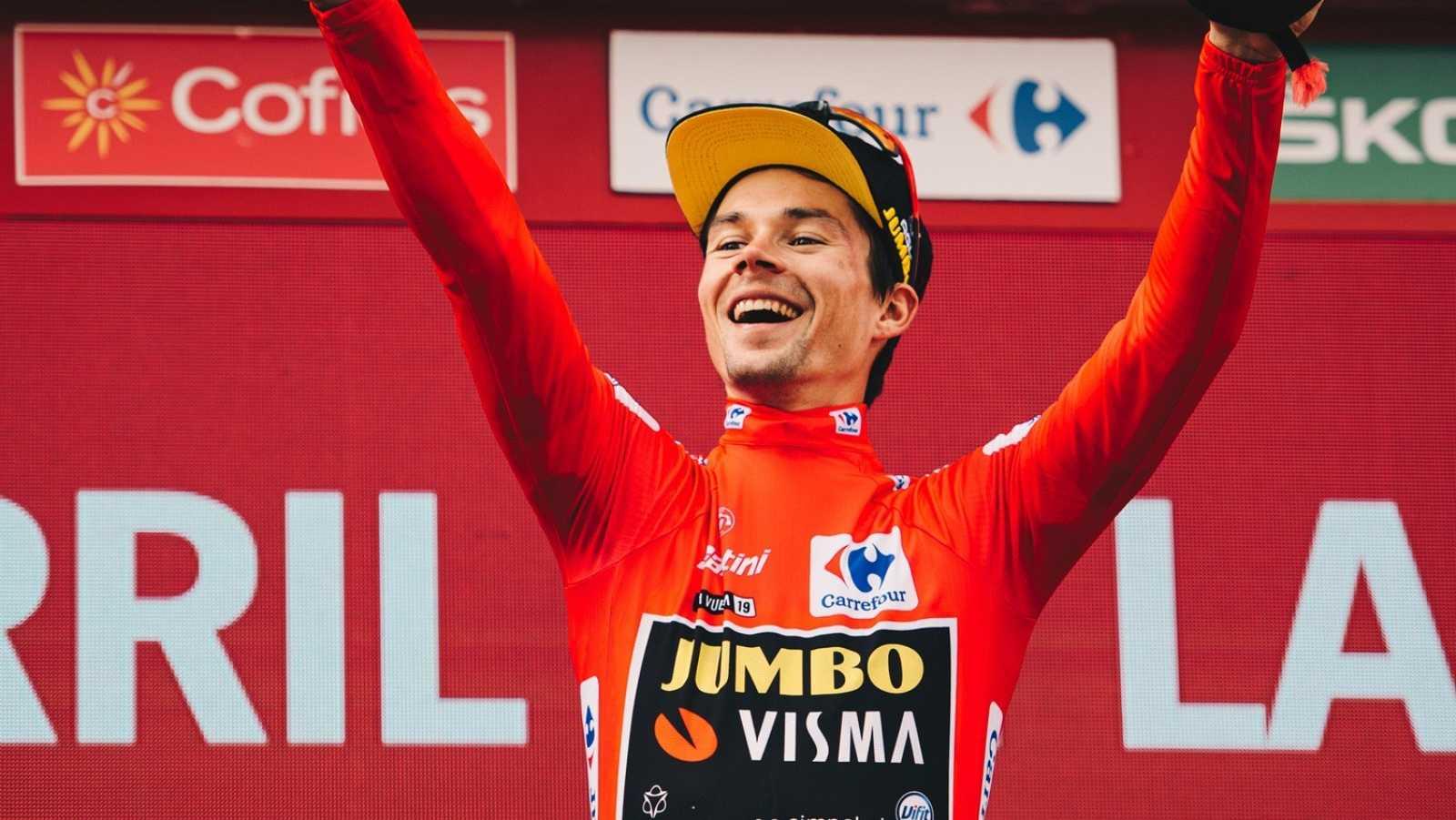 Roglic celebra su triunfo en la Vuelta 2020