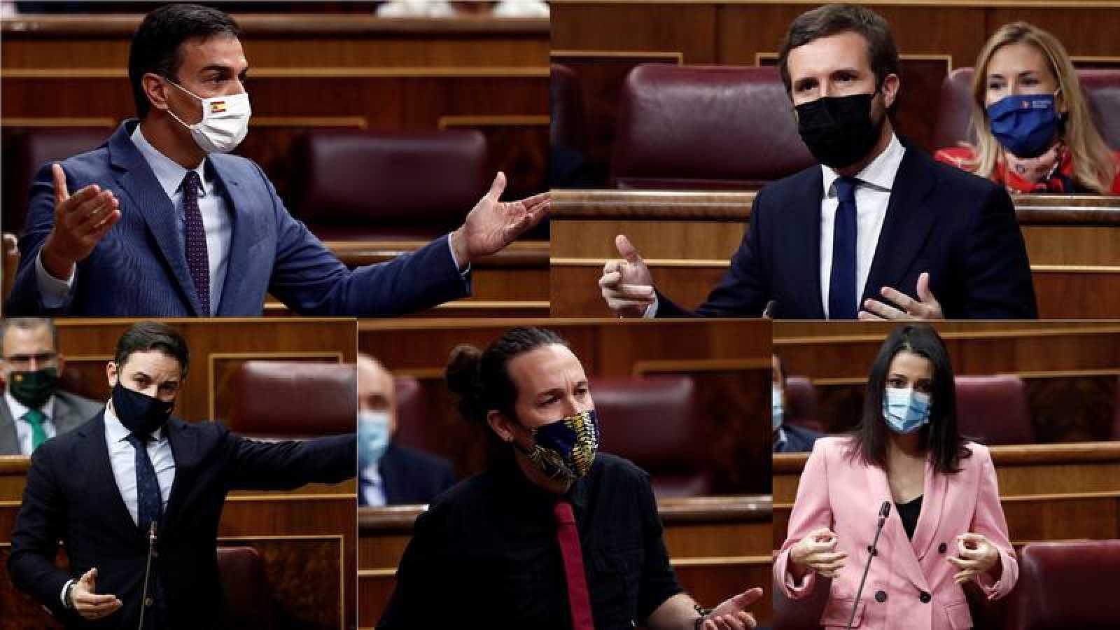 Pedro Sánchez, Pablo Casado, Santiago Abascal, Pablo Iglesias e Inés Arrimadas, en sesión de control en el Congreso.