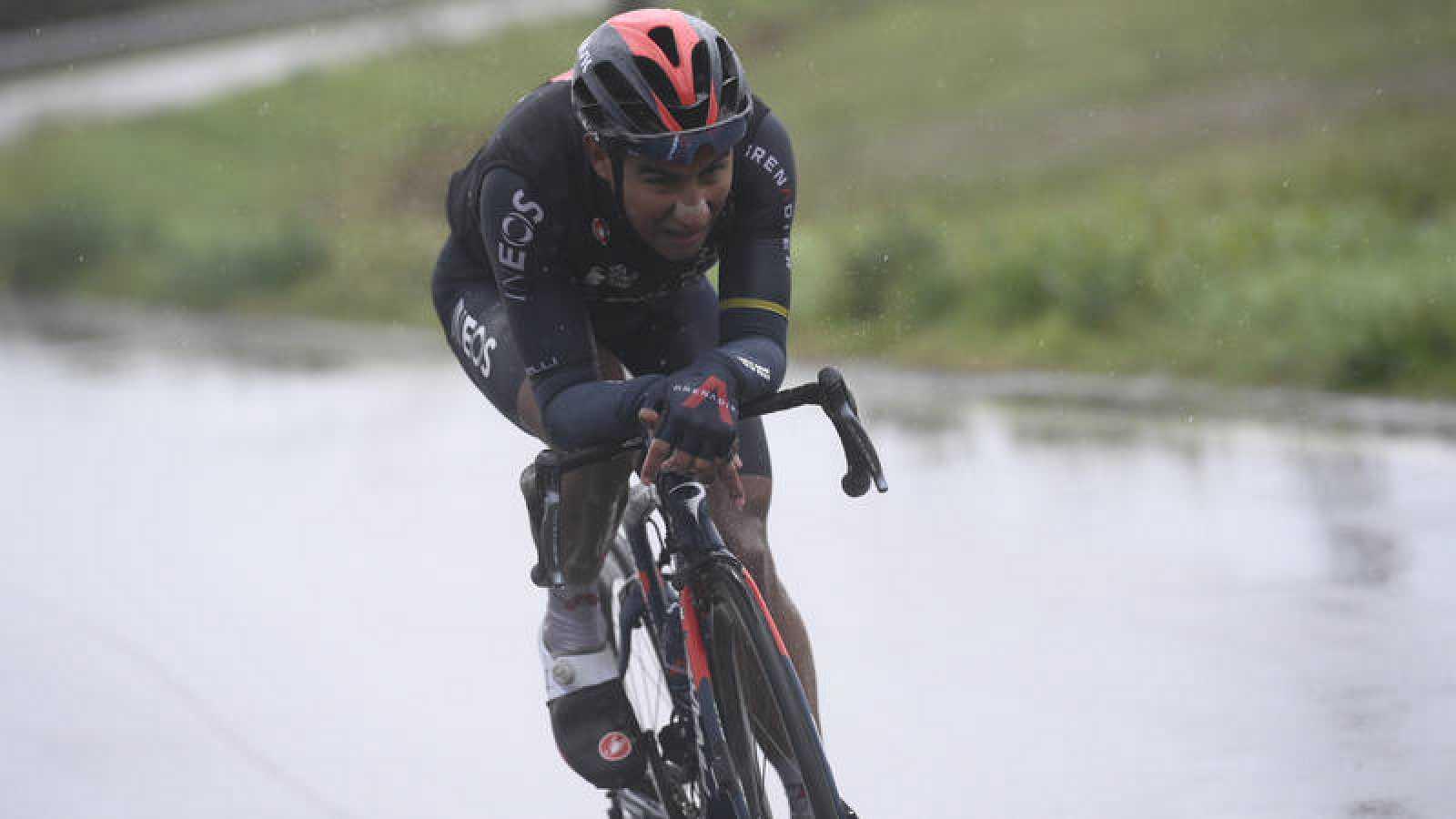 Imagen de Jhonatan Manuel Narvaez Prado (Ineos) durante la etapa 12 del Giro de Italia 2020.