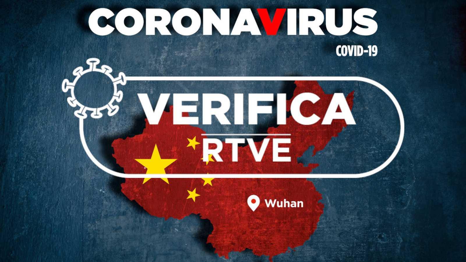 """Mapa de China con la bandera del país y las palabras """"coronavirus"""" y """"covid 19"""" junto al sello de """"Verifica RTVE"""""""