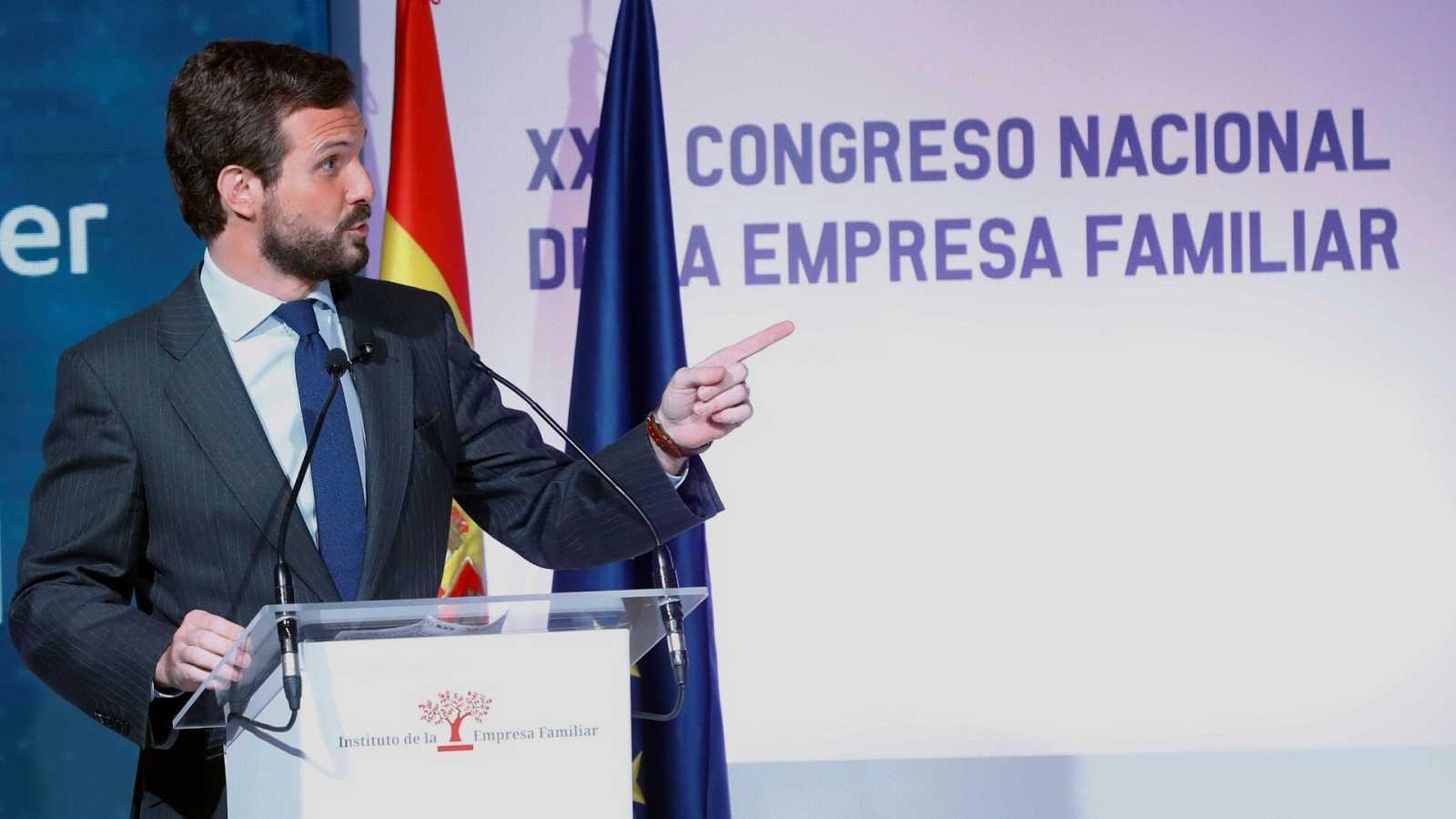 El presidente del PP; Pablo Casado