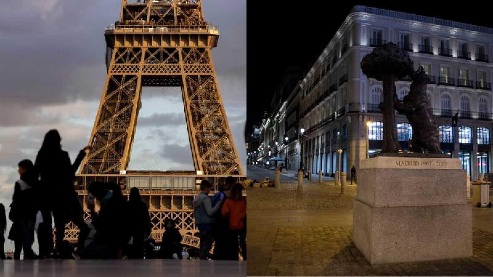 Vista de la Torre Eiffel en Madrid y del tradicional oso y el madroño en la Puerta del Sol de Madrid