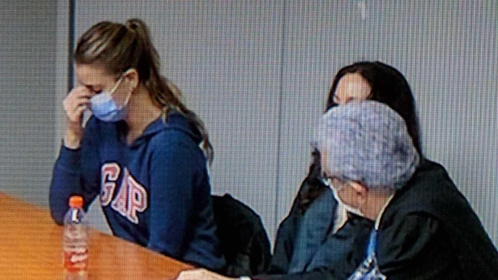 Imagen de un monitor de la Ciudad de la Justicia de Valencia de María Jesús M., Maje, en el momento de la lectura del veredicto