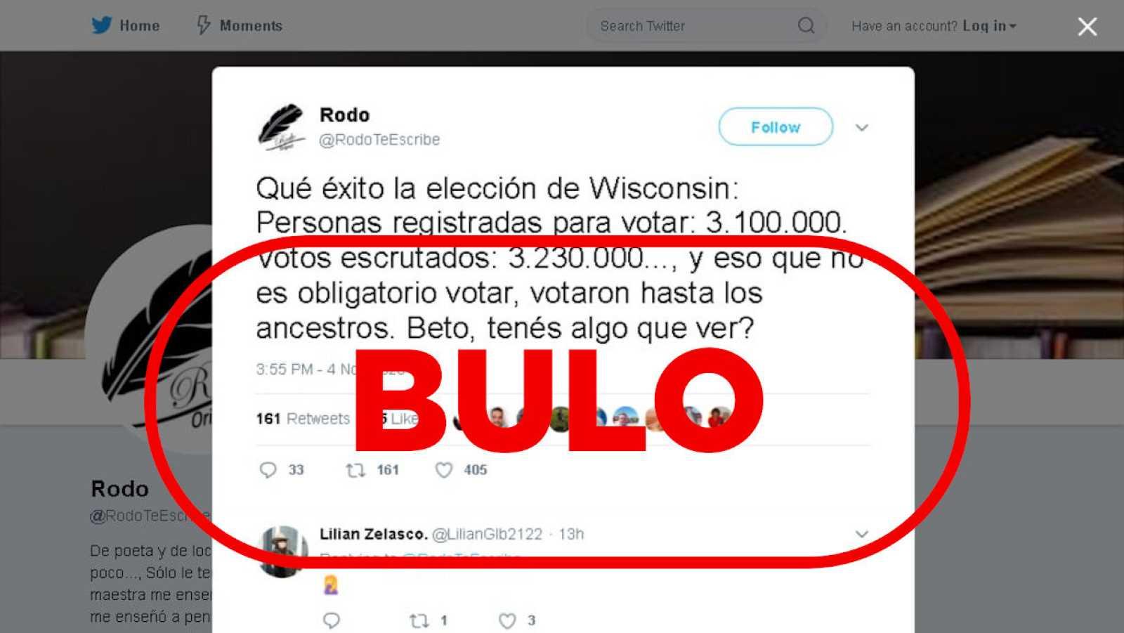 Captura de un tuit con información falsa que sugiere fraude en Wisconsin.