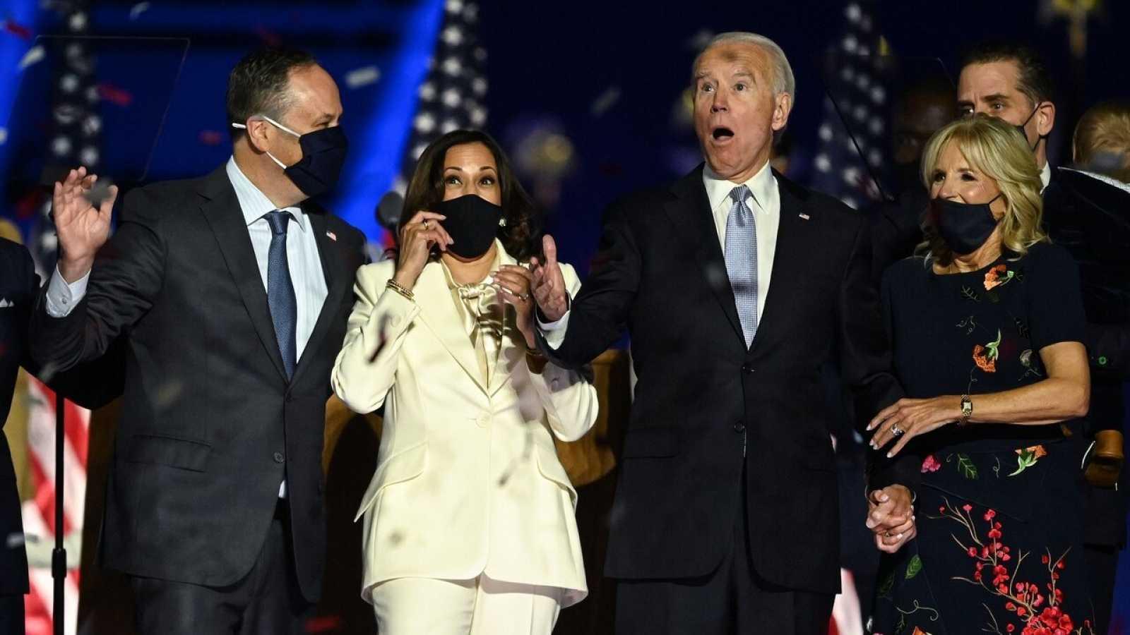 Joe Biden y Kamala Harris celebran su victoria en Delaware. Foto: Jim WATSON / AFP.
