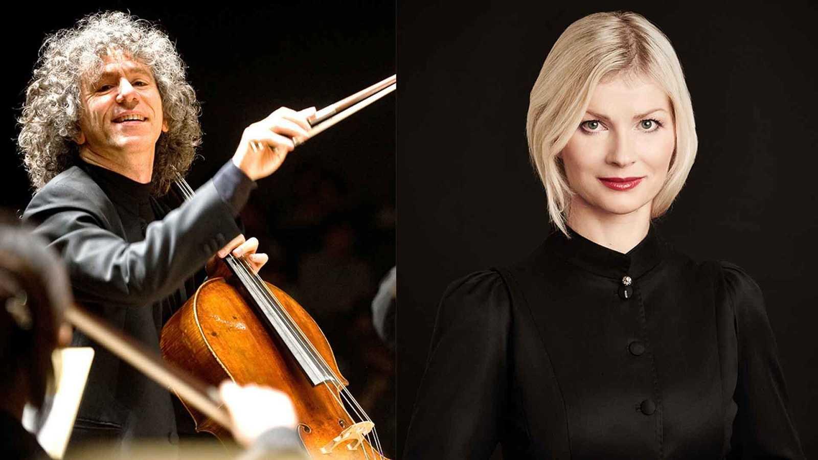 El chelista Steven Isserlis y la directora de orquesta Anu Tali