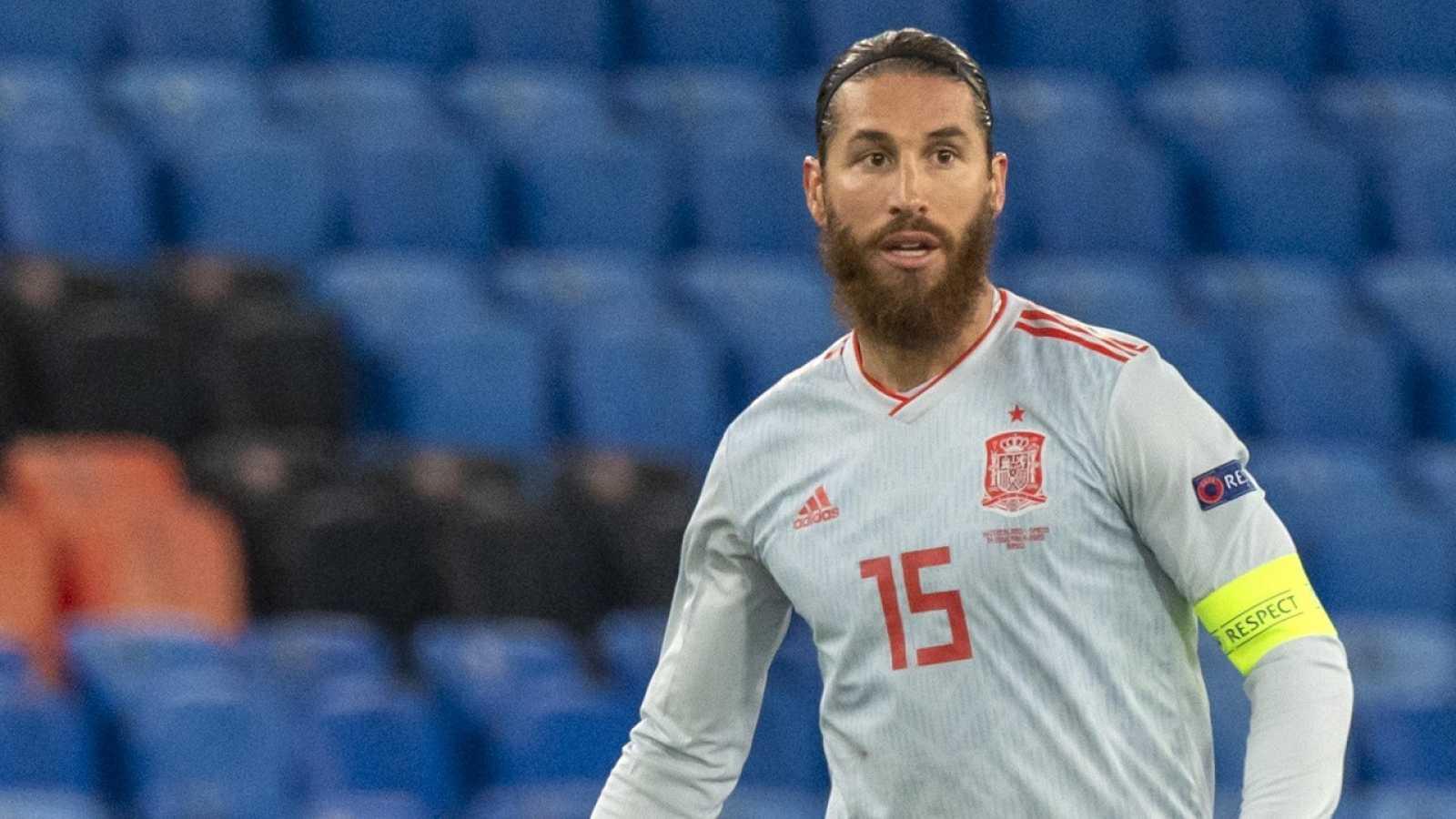 Sergio Ramos en el partido ante Suiza