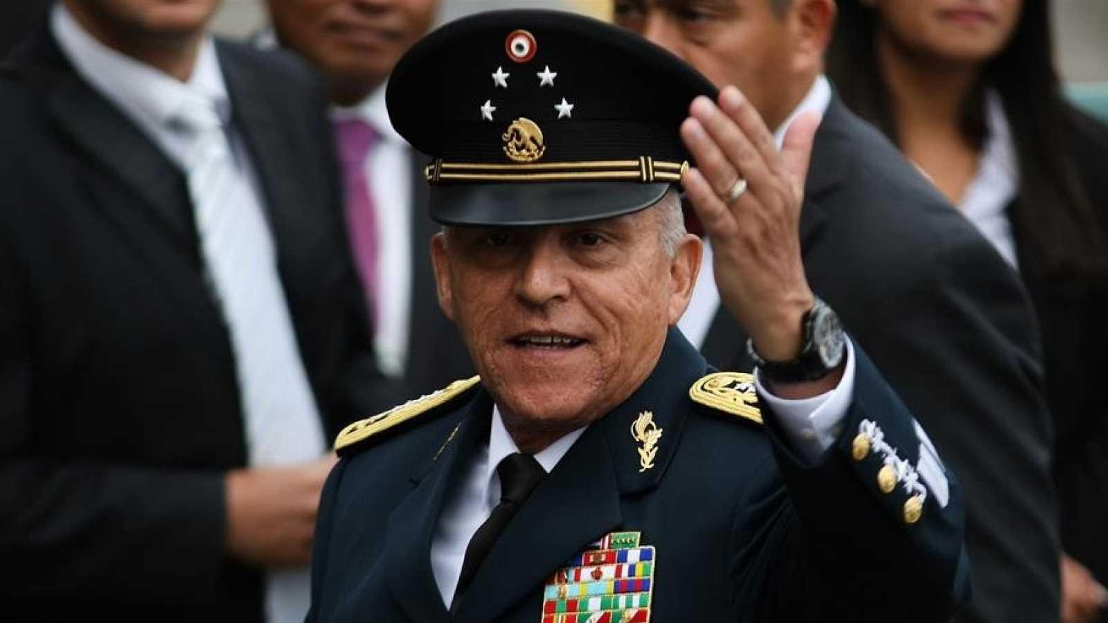 El exsecretario de Defensa, Salvador Cienfuegos, durante un acto protocolario en Ciudad de México