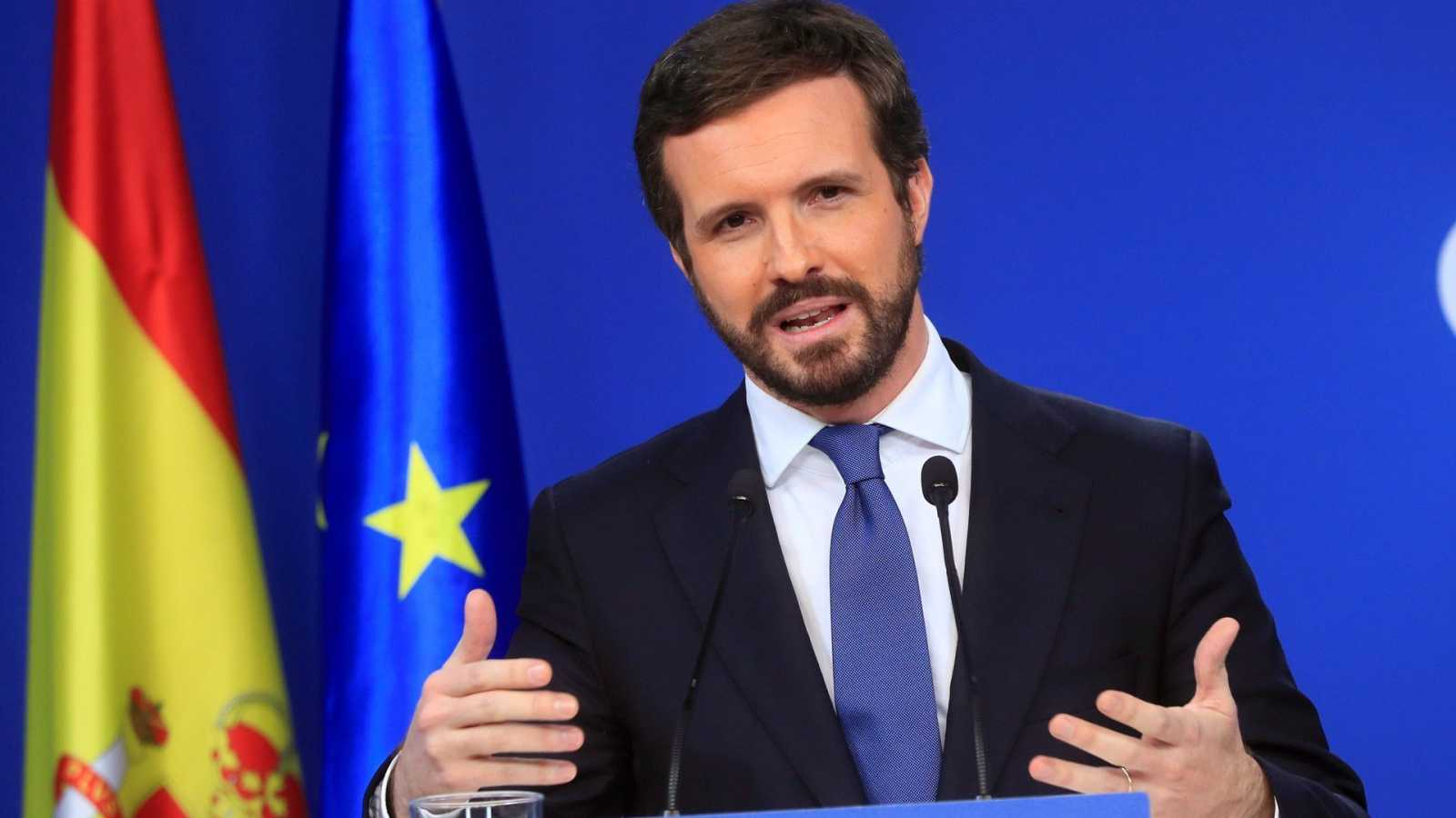 El líder del Partido Popular, Pablo Casado durante la rueda de prensa para hacer balance del año en la sede del partido en Madrid este martes.