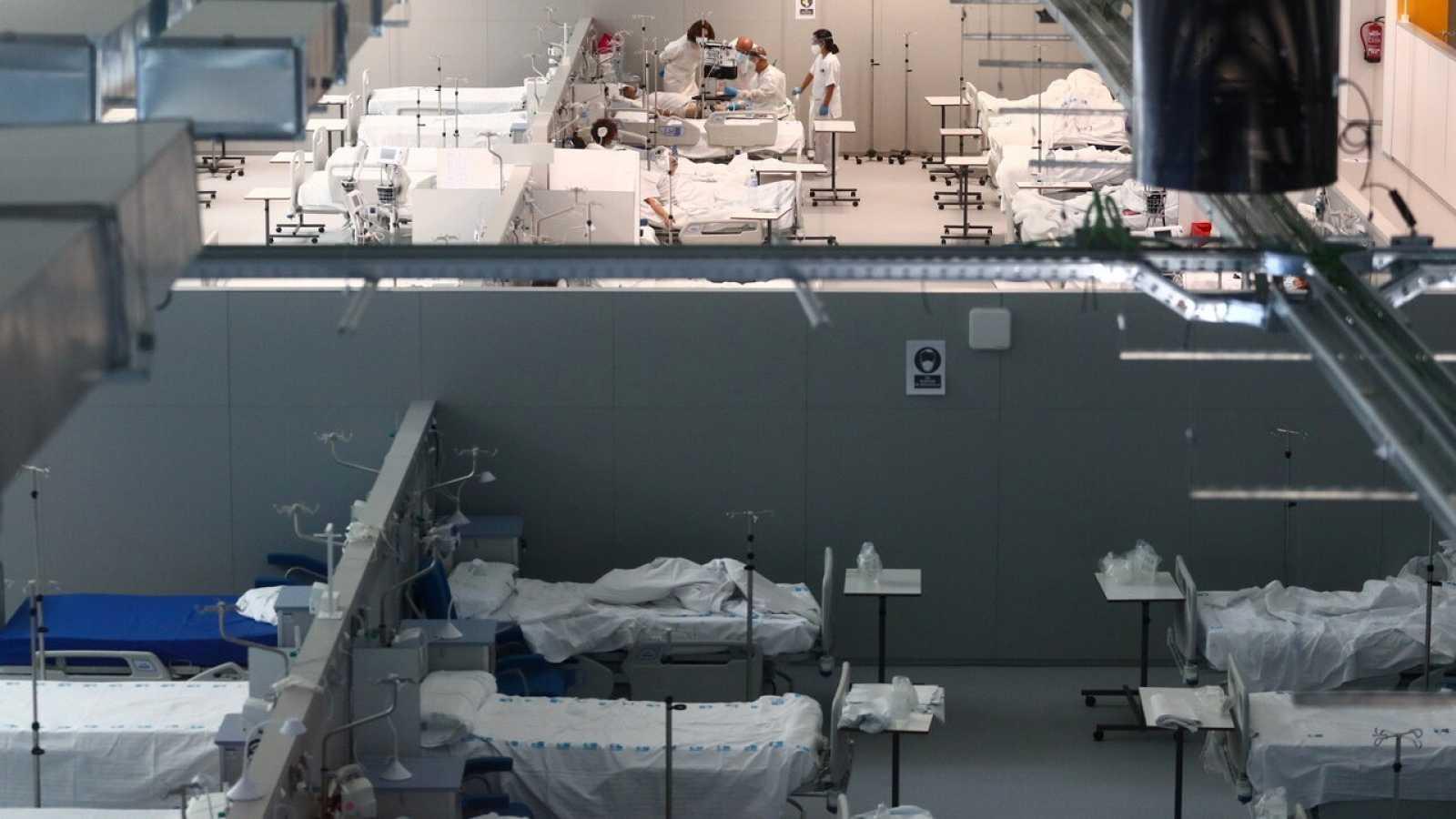 Aspecto del hospital Isabel Zendal en Madrid, el pasado 11 de enero, con pacientes de COVID-19. REUTERS/Sergio Perez
